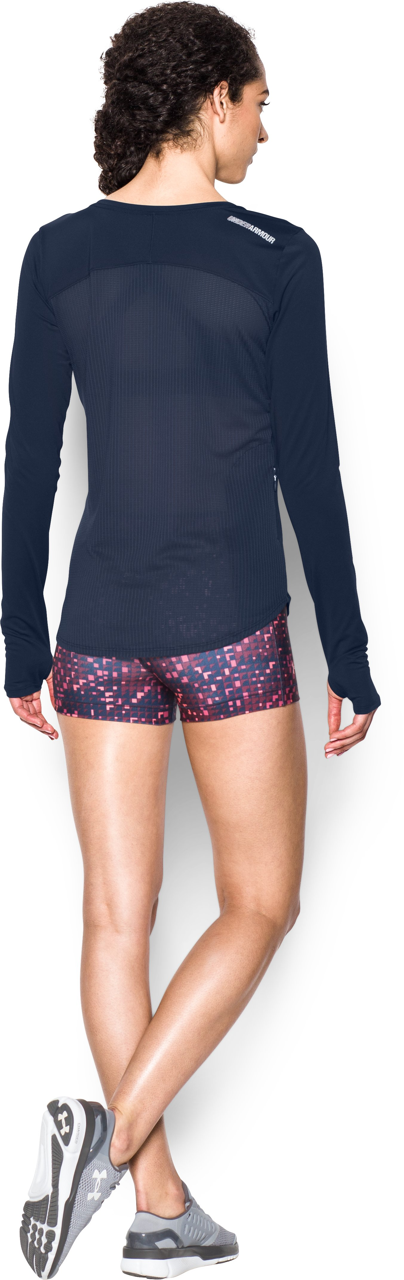 Women's UA Fly-By Solid Long Sleeve, Midnight Navy, Back