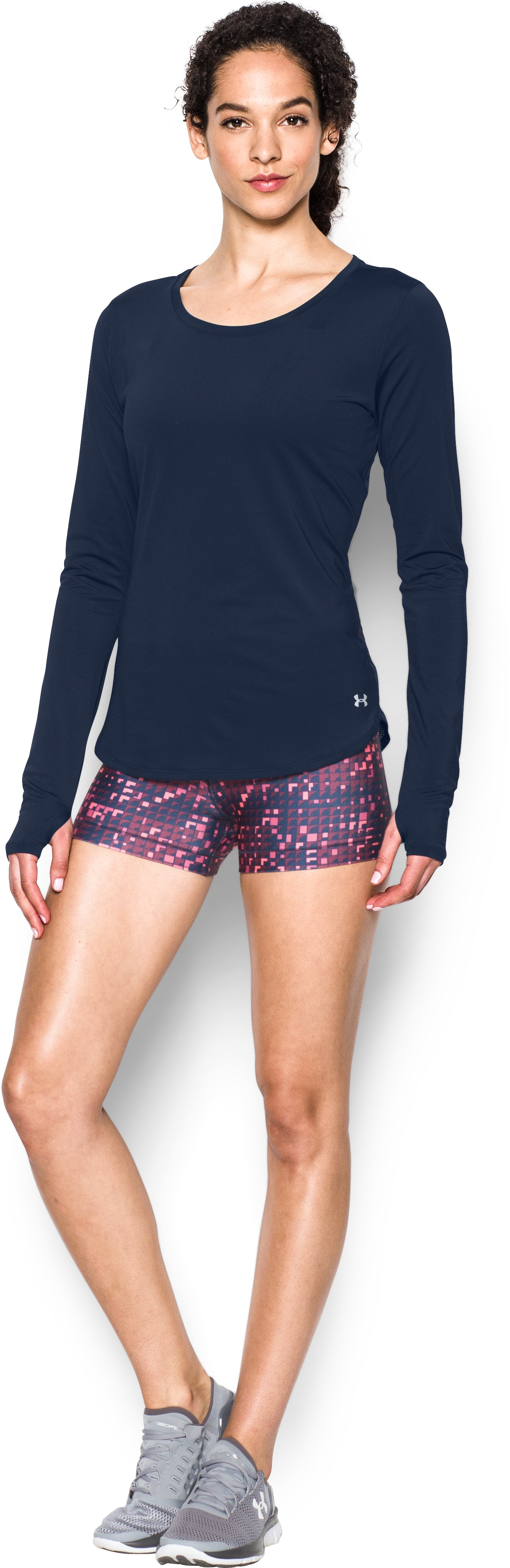 Women's UA Fly-By Solid Long Sleeve, Midnight Navy, Front