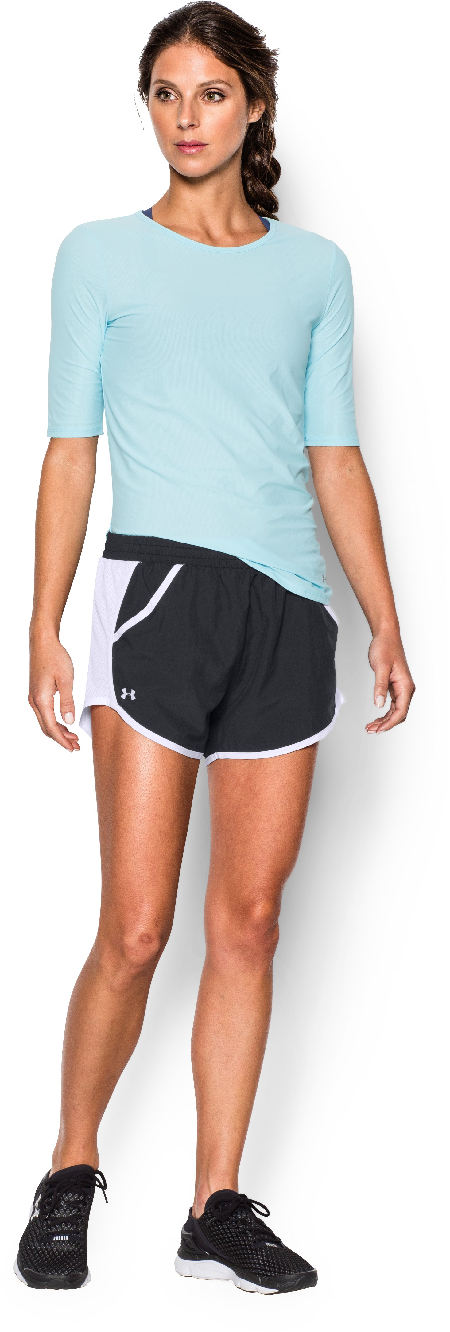 Women's UA Fly-By Run Shorts, Black , Front