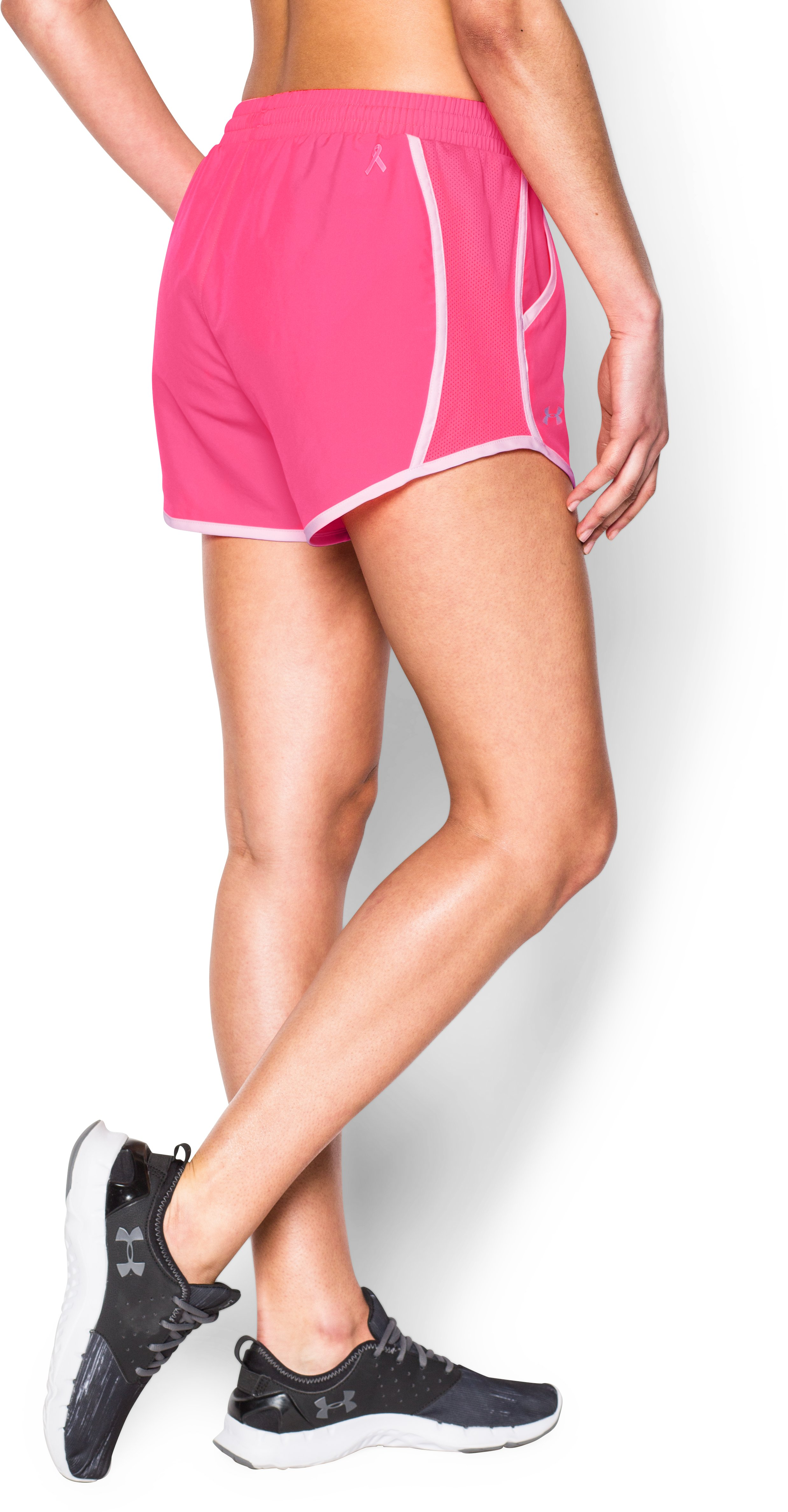 Women's UA Fly-By Run Shorts, Cerise,