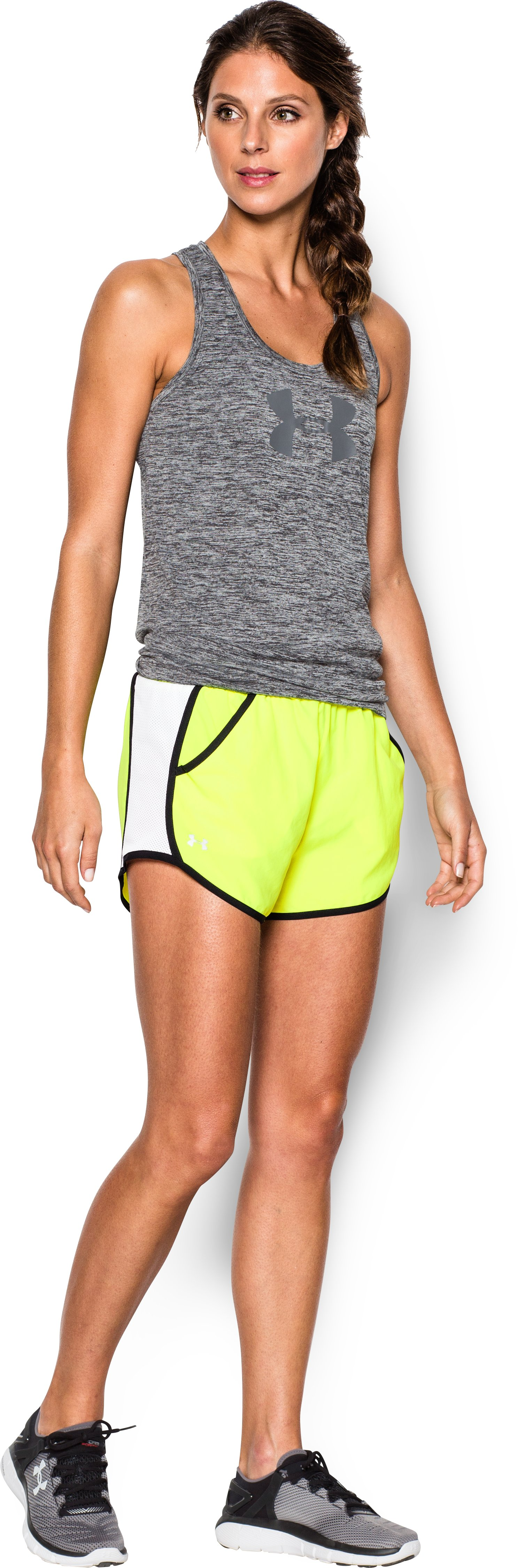 Women's UA Fly-By Run Short, High-Vis Yellow, Front