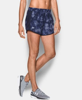 New to Outlet Women's UA Fly-By Printed Run Short  1 Color $17.99 to $22.99