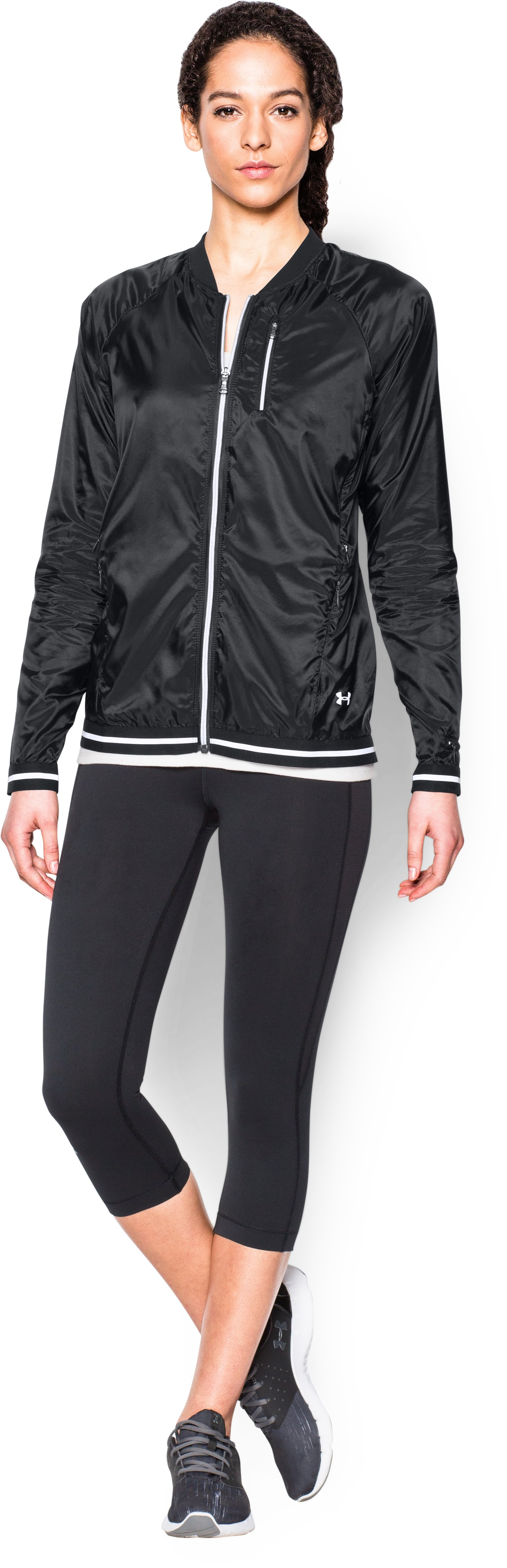 Women's UA Fly-By Jacket, Black , Front