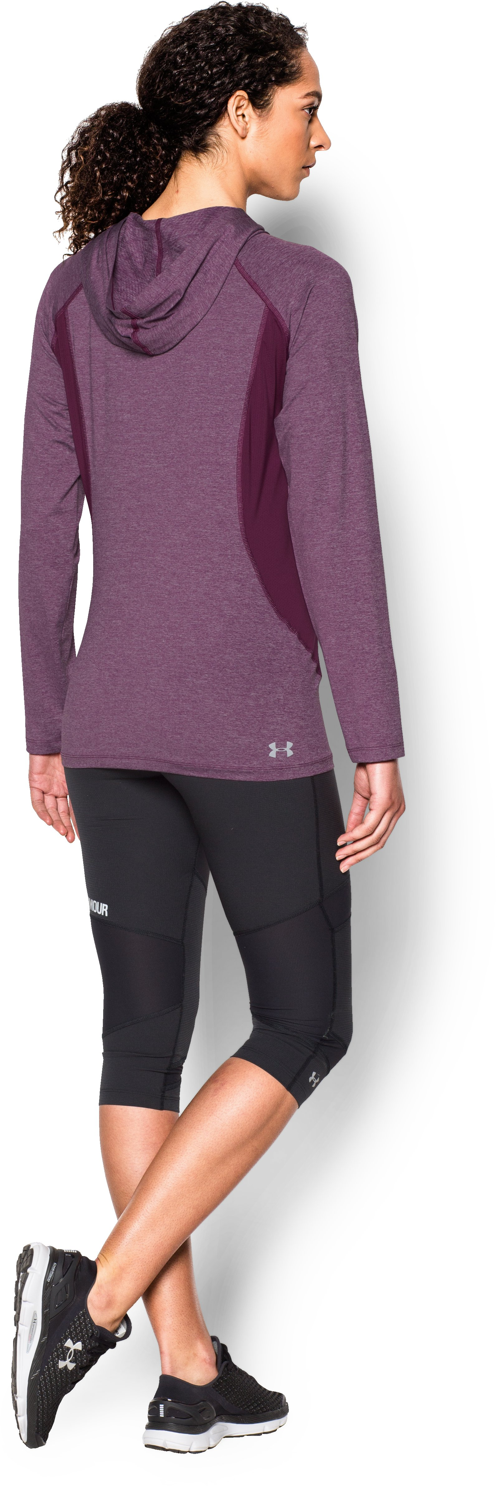 Women's UA CoolSwitch Trail Hoodie, Beet, Back