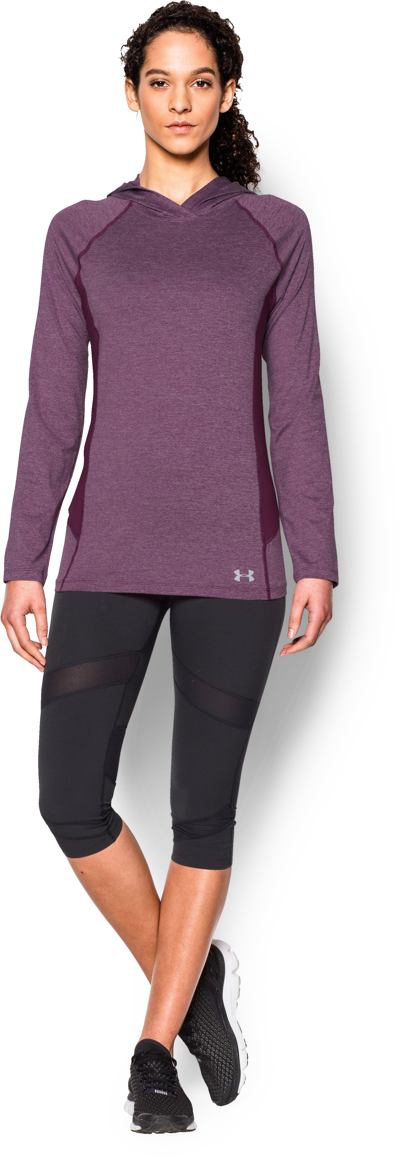 Women's UA CoolSwitch Trail Hoodie, Beet, Front