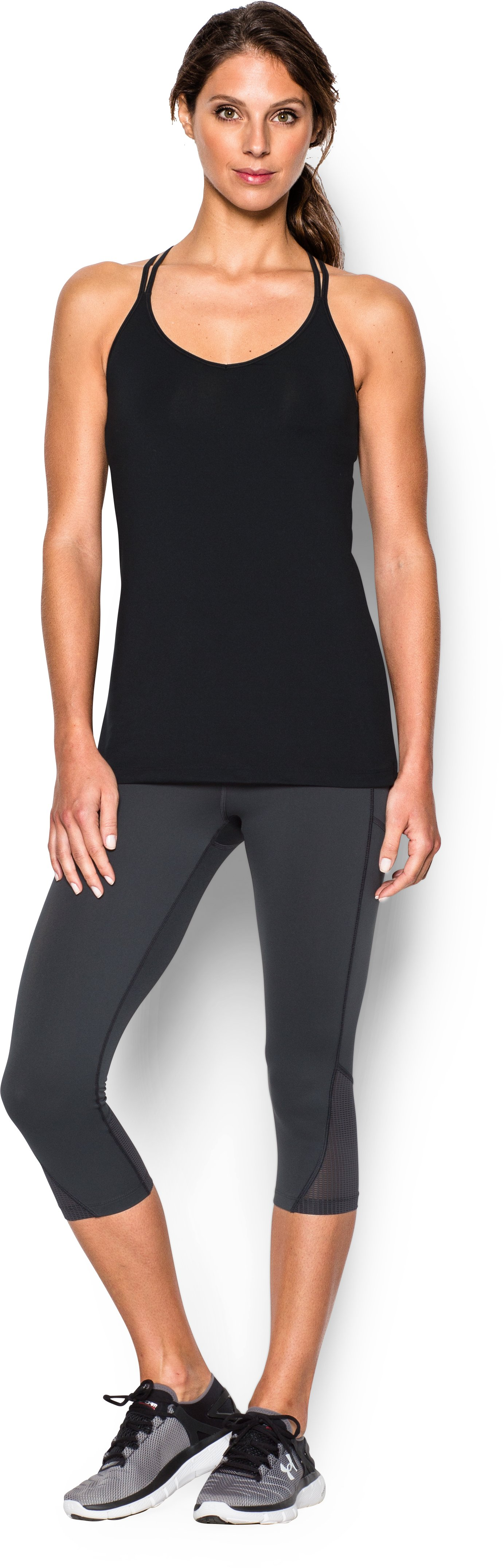 Women's UA Solid Lux Tank, Black , Front
