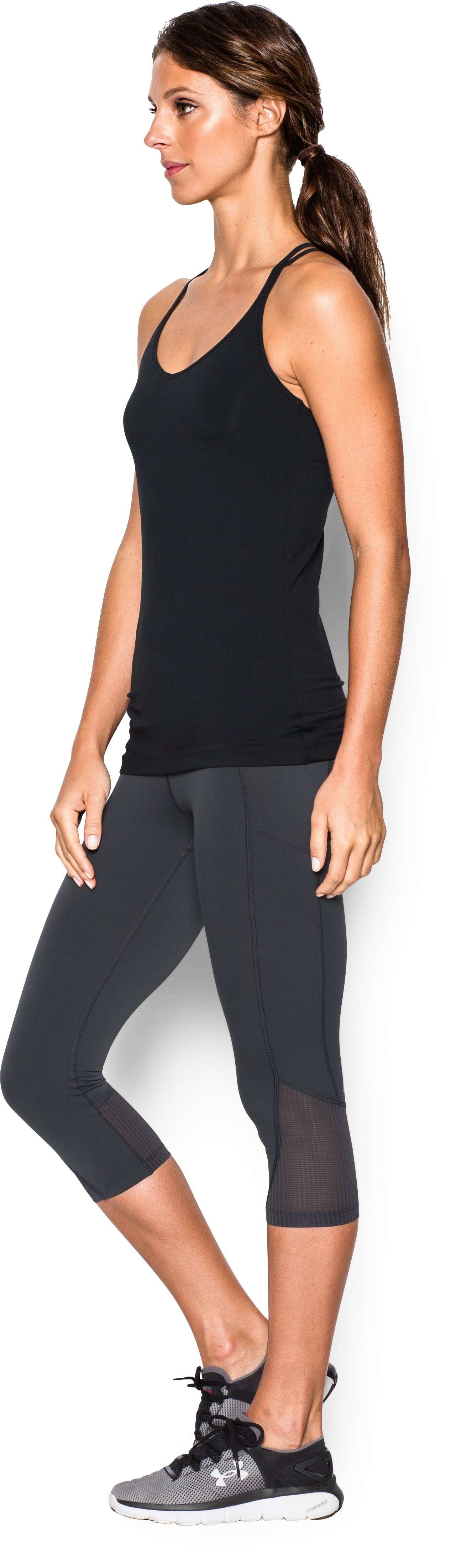Women's UA Solid Lux Tank, Black ,