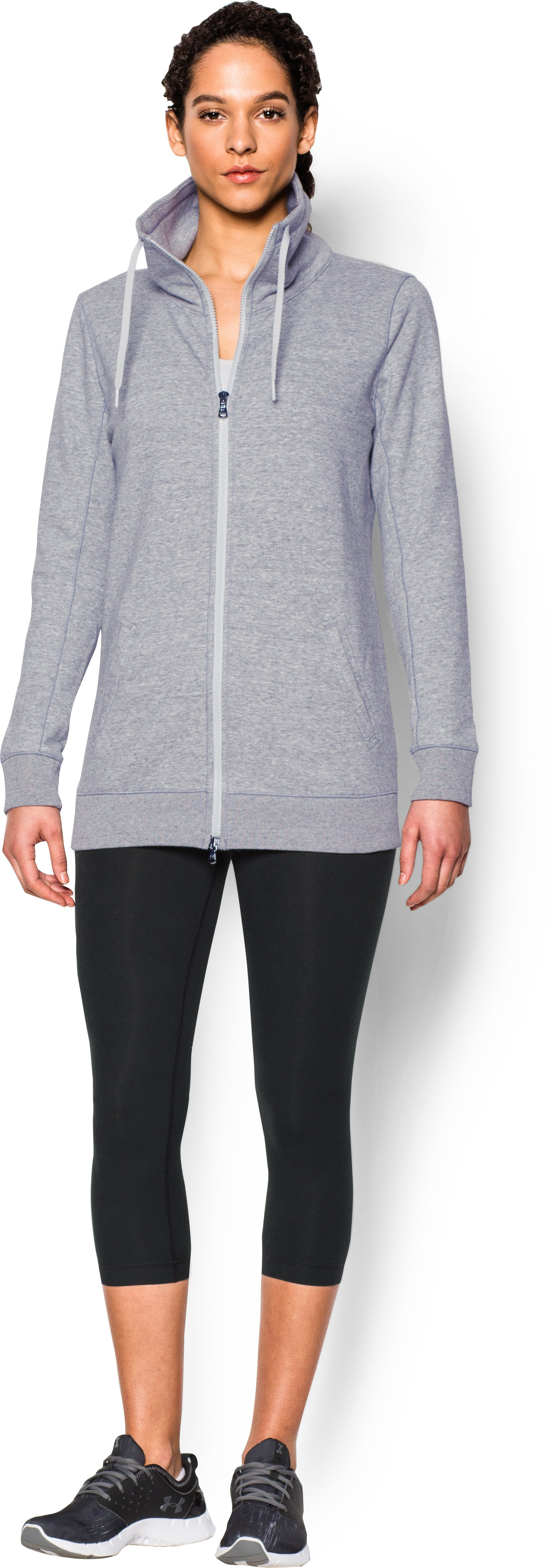 Women's UA Spring Terry Jacket, True Gray Heather