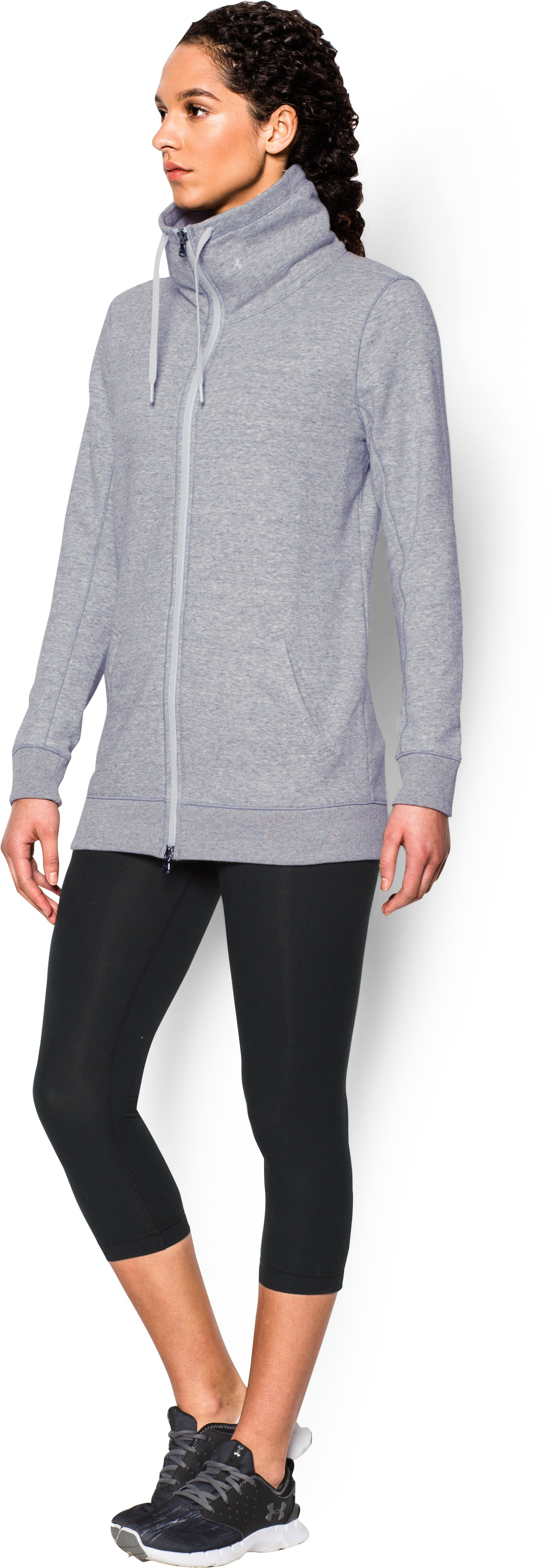 Women's UA Spring Terry Jacket, True Gray Heather, undefined