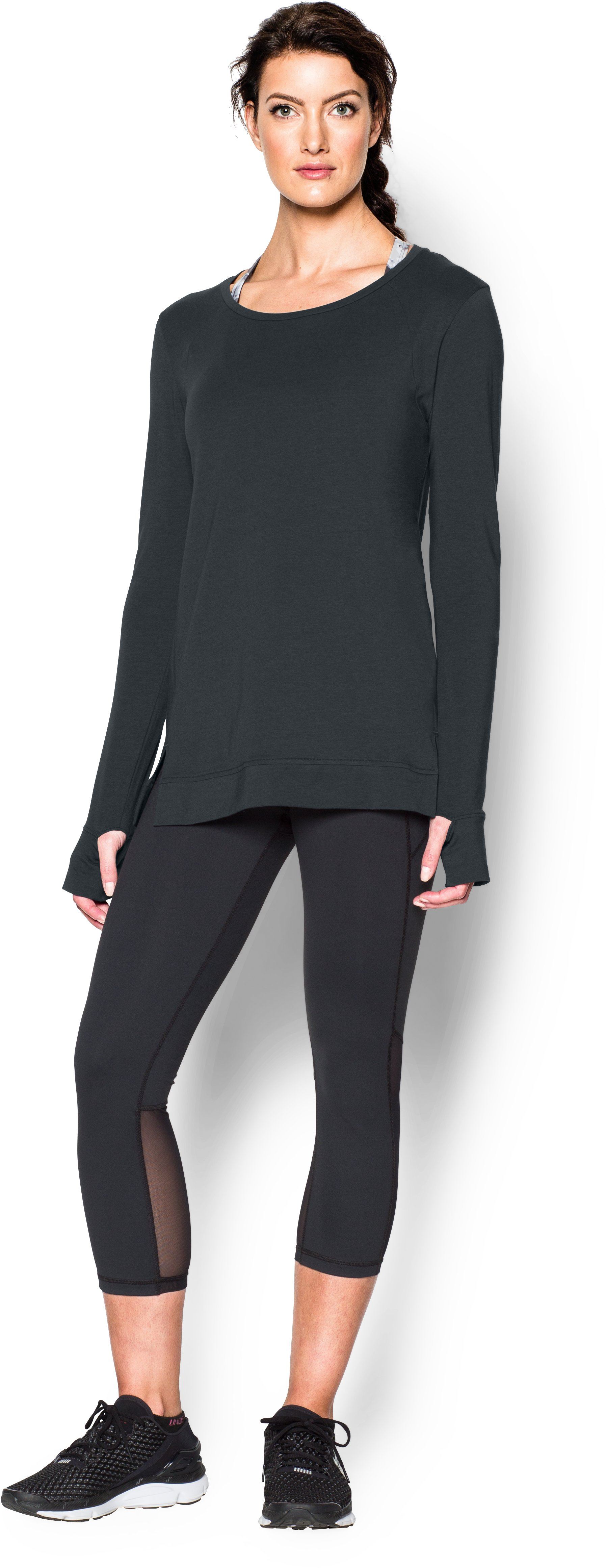 Women's UA Studio Oversized Long Sleeve, ANTHRACITE, Front