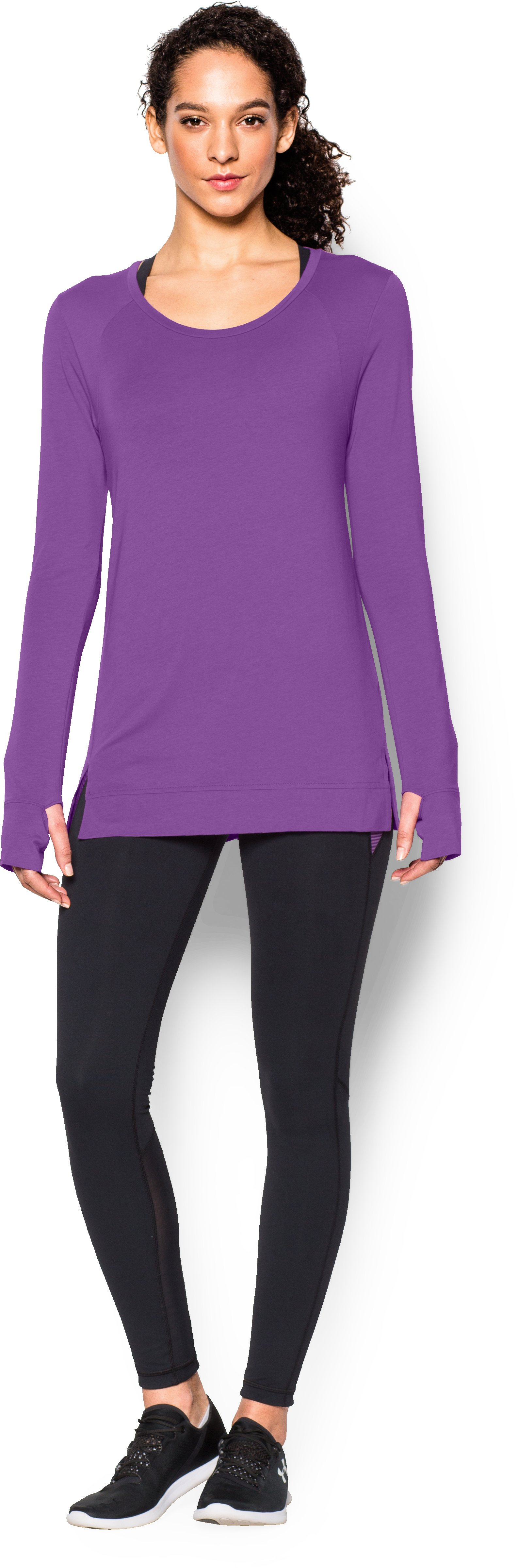 Women's UA Studio Oversized Long Sleeve, MEGA MAGENTA, Front
