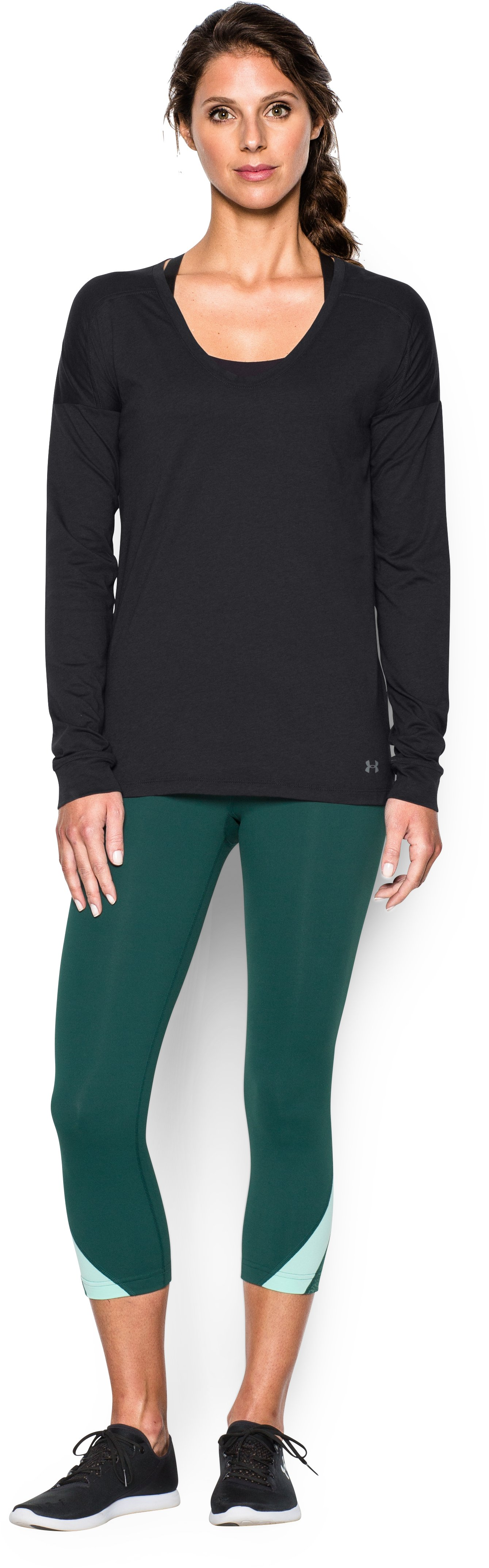 Women's UA Favorite Drop Shoulder Long Sleeve, Black , Front