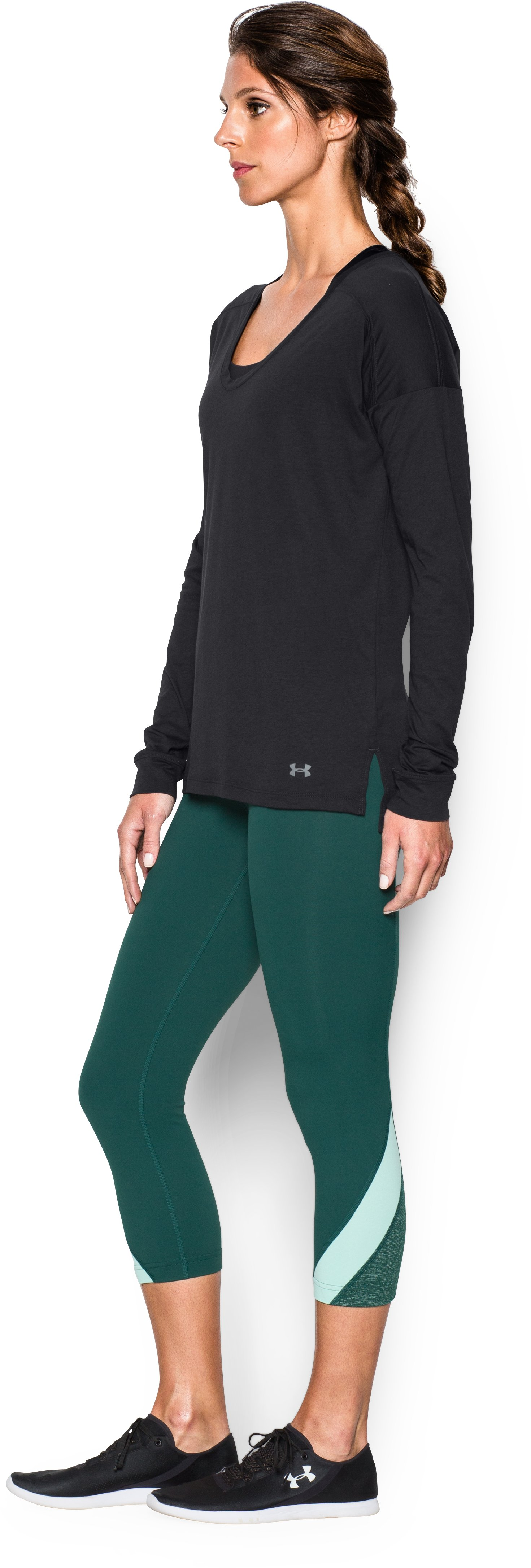 Women's UA Favorite Drop Shoulder Long Sleeve, Black , undefined