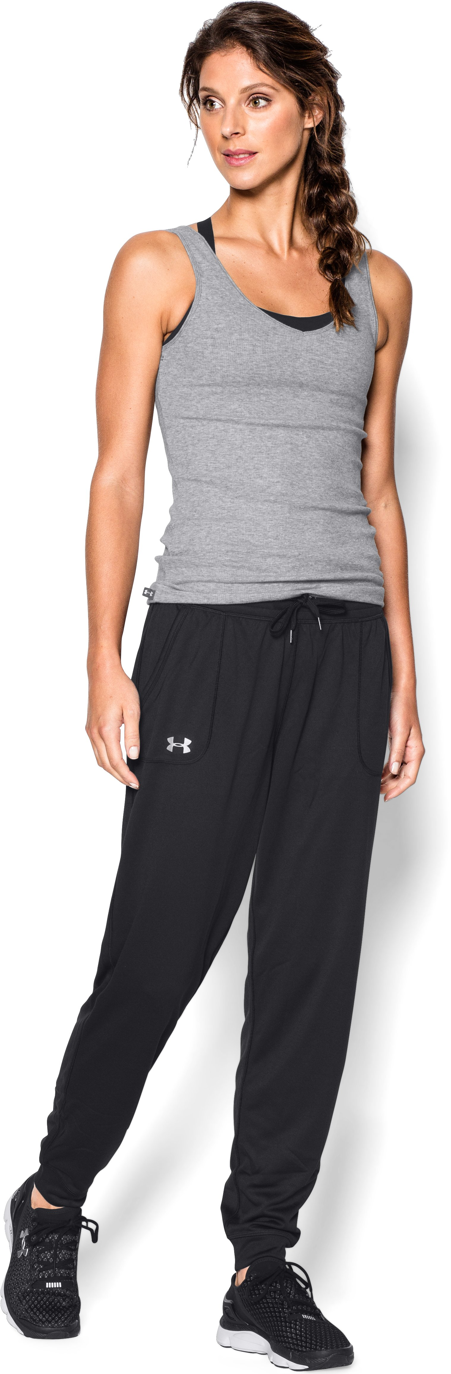 Women's UA Tech™ Pants, Black , Front