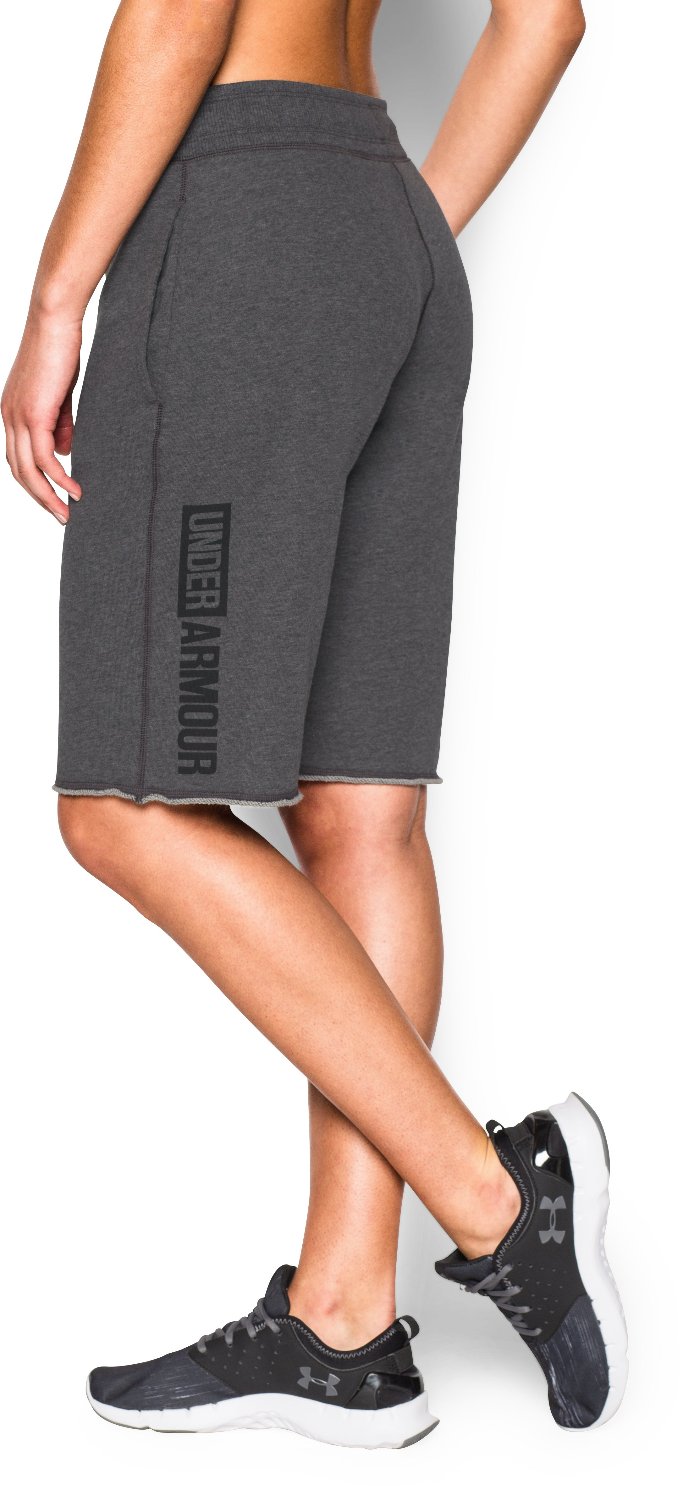 Women's UA Favorite French Terry Boy Short, Carbon Heather, zoomed image