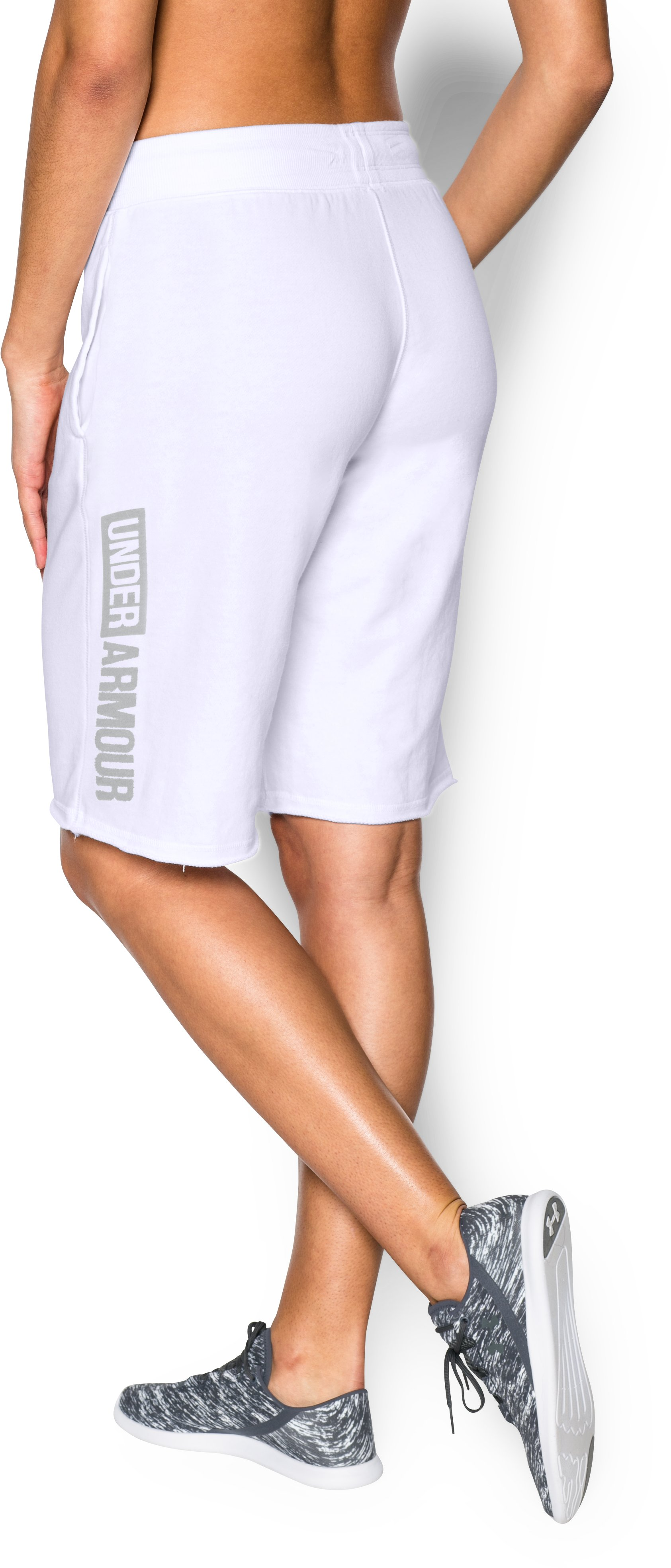 Women's UA Favorite French Terry Boy Short, White, zoomed image