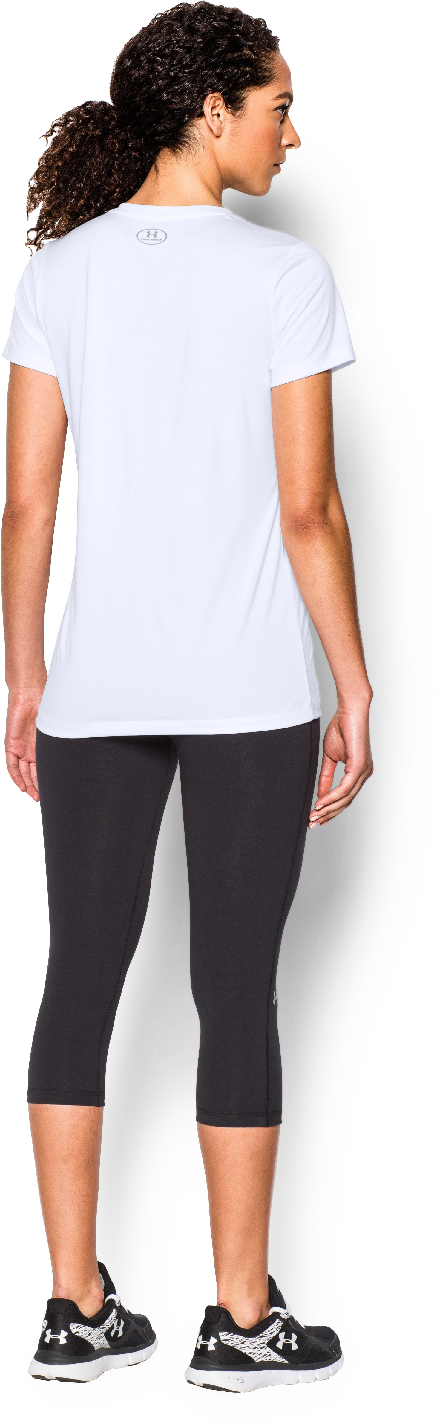 Women's UA Tech™ V-Neck - Branded, White, Back
