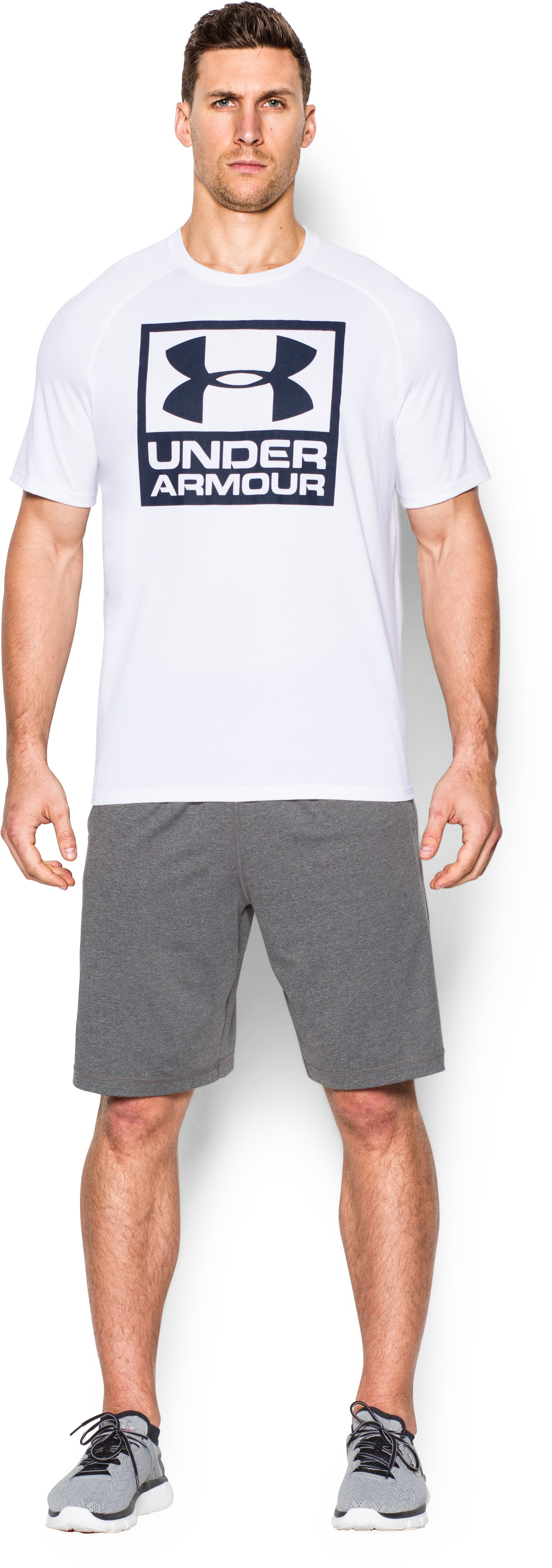 Men's UA Tech™ Boxed Logo T-Shirt, White, zoomed image