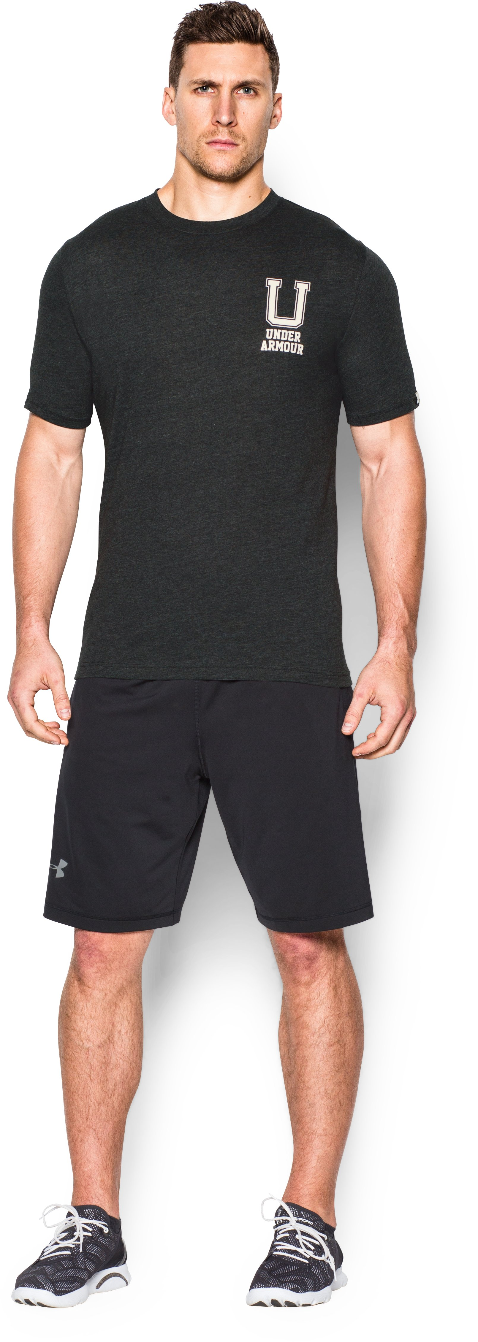 Men's UA Collegiate T-Shirt, Asphalt Heather, Front