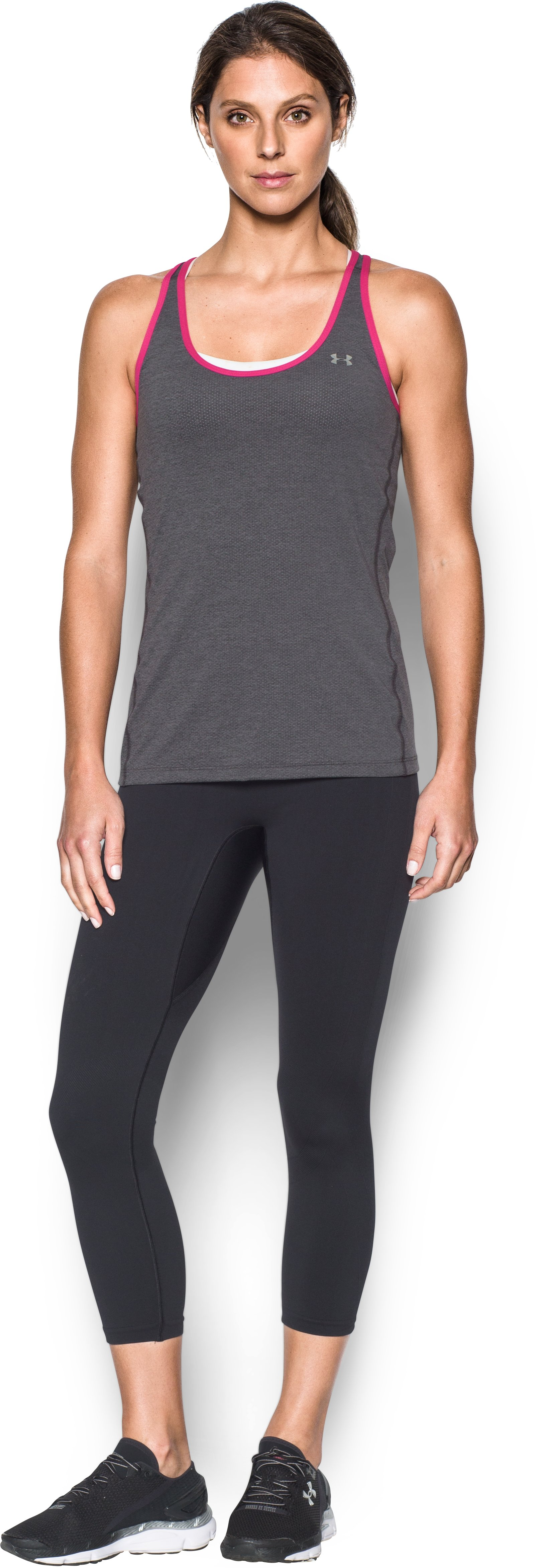 Women's UA HeatGear® Armour Racer Tank, Carbon Heather