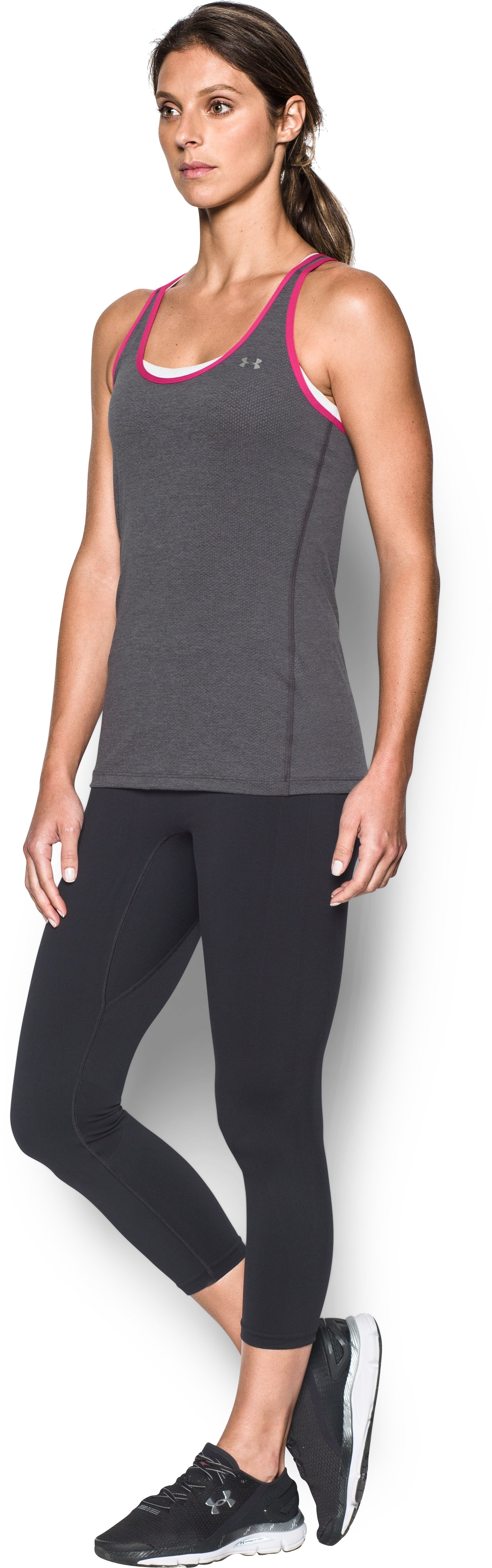 Women's UA HeatGear® Armour Racer Tank, Carbon Heather,