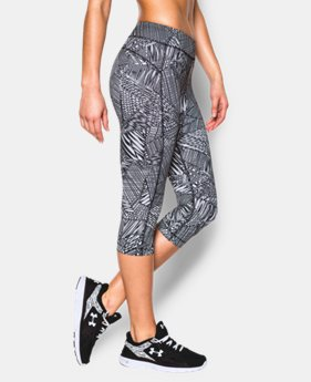 "Women's UA HeatGear® Armour Printed 18"" Capri  3 Colors $26.99 to $33.99"