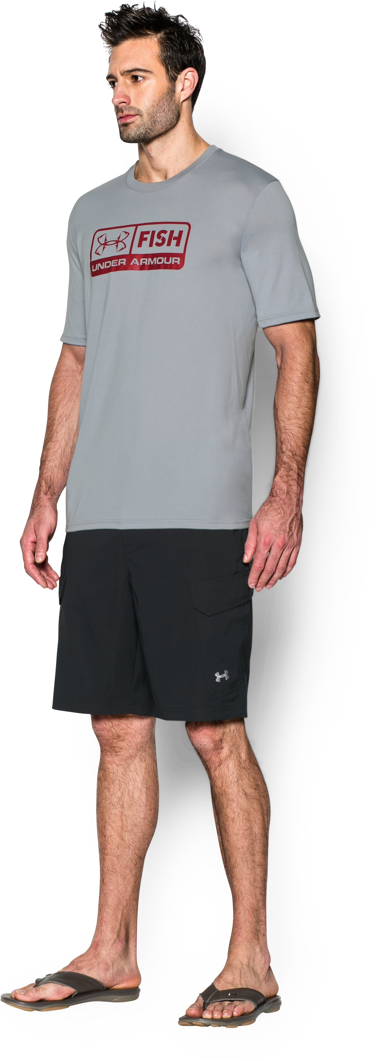 Men's UA Fish T-Shirt, AMALGAM GRAY,