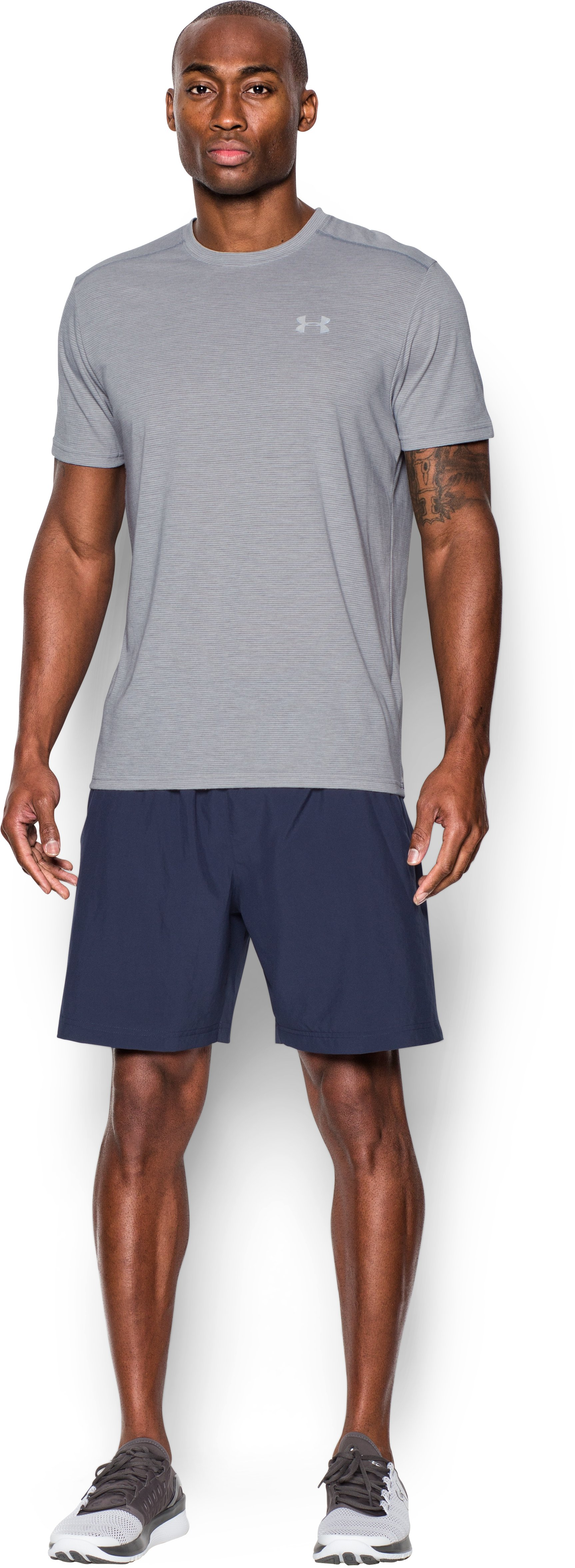 Men's UA Streaker Run Short Sleeve T-Shirt, True Gray Heather, Front
