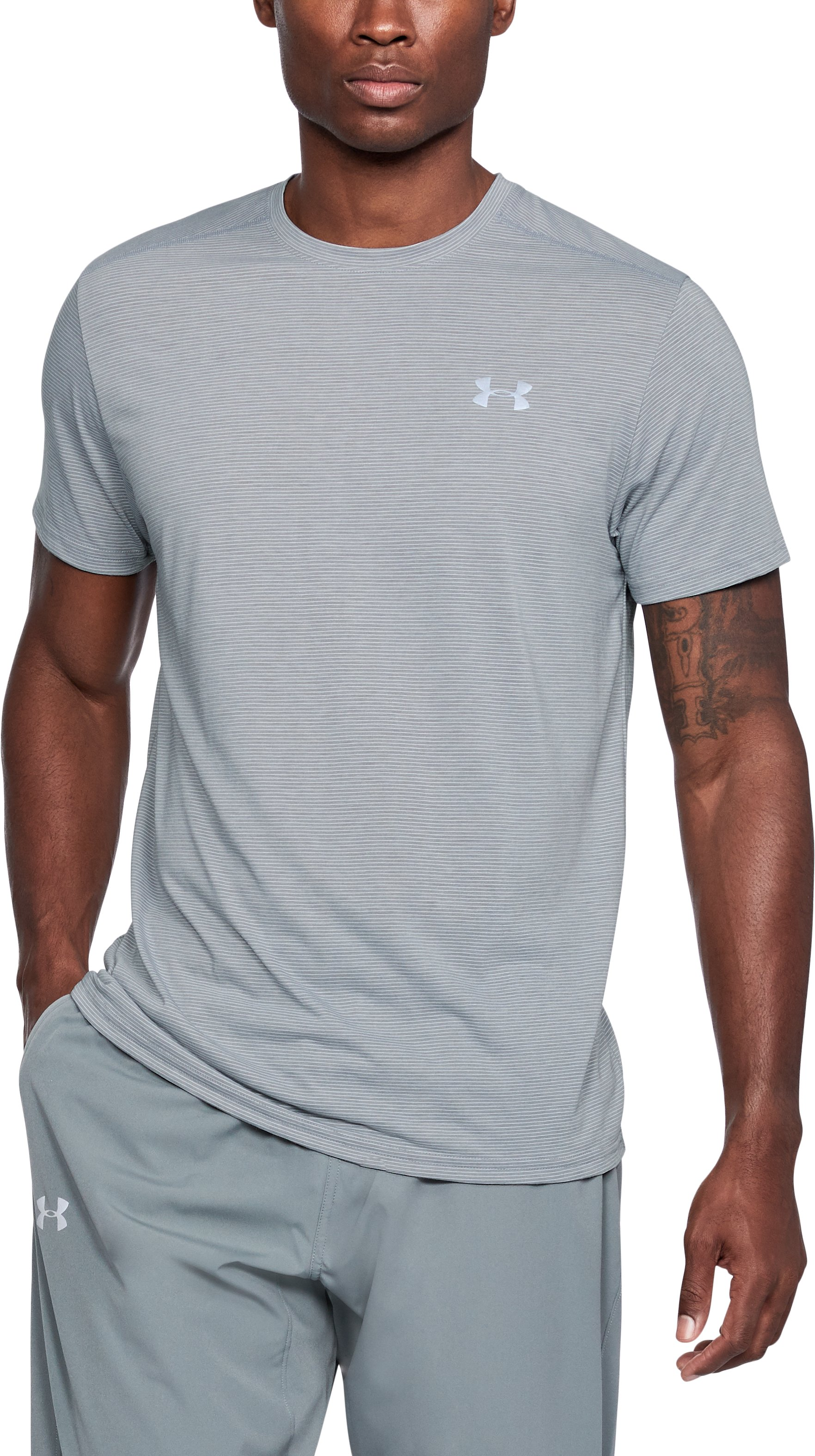 Men's UA Streaker Short Sleeve, STEEL LIGHT HEATHER