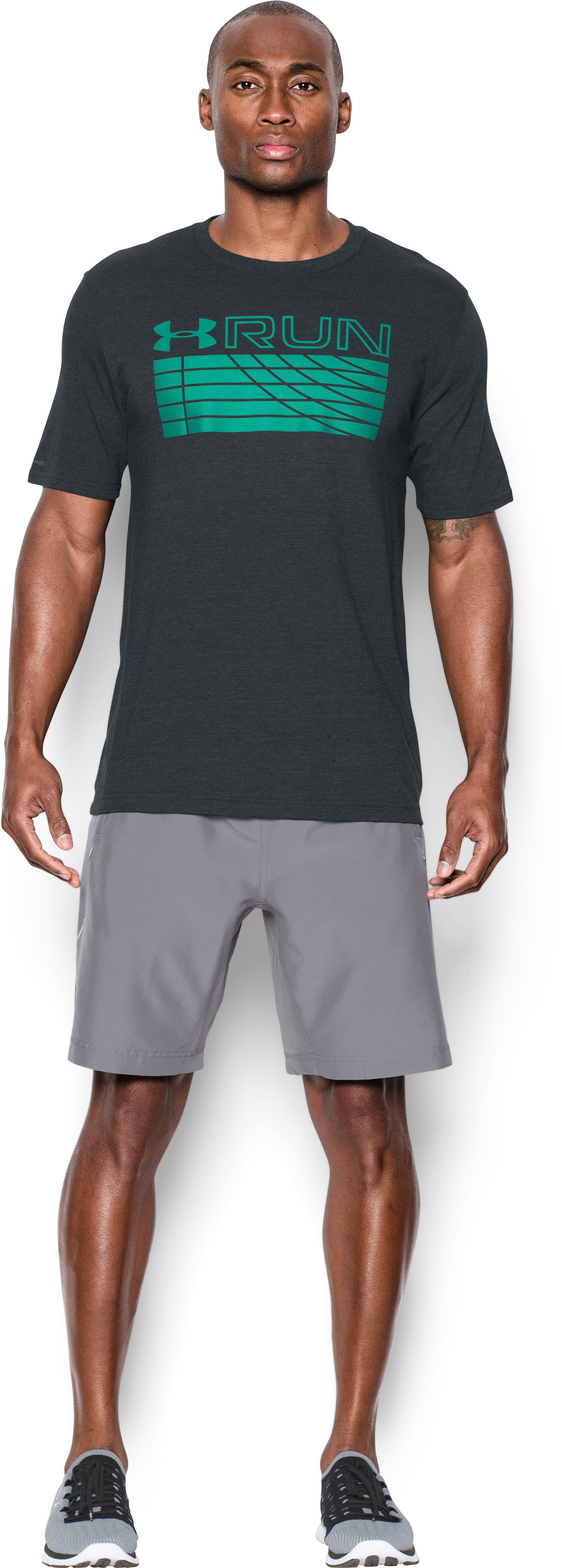 Men's UA Run Track T-Shirt, ANTHRACITE, Front