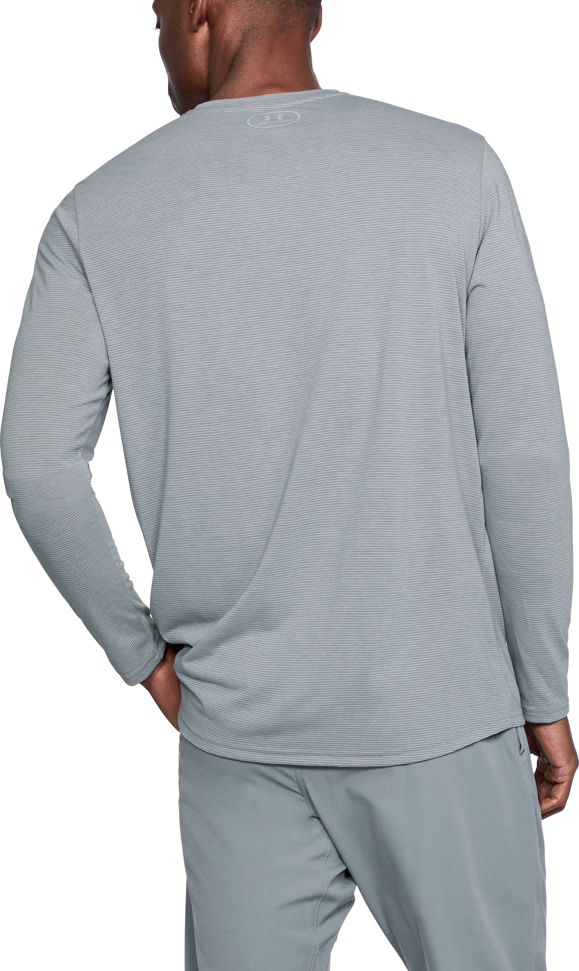 Men's UA Threadborne Streaker Long Sleeve, STEEL LIGHT HEATHER,