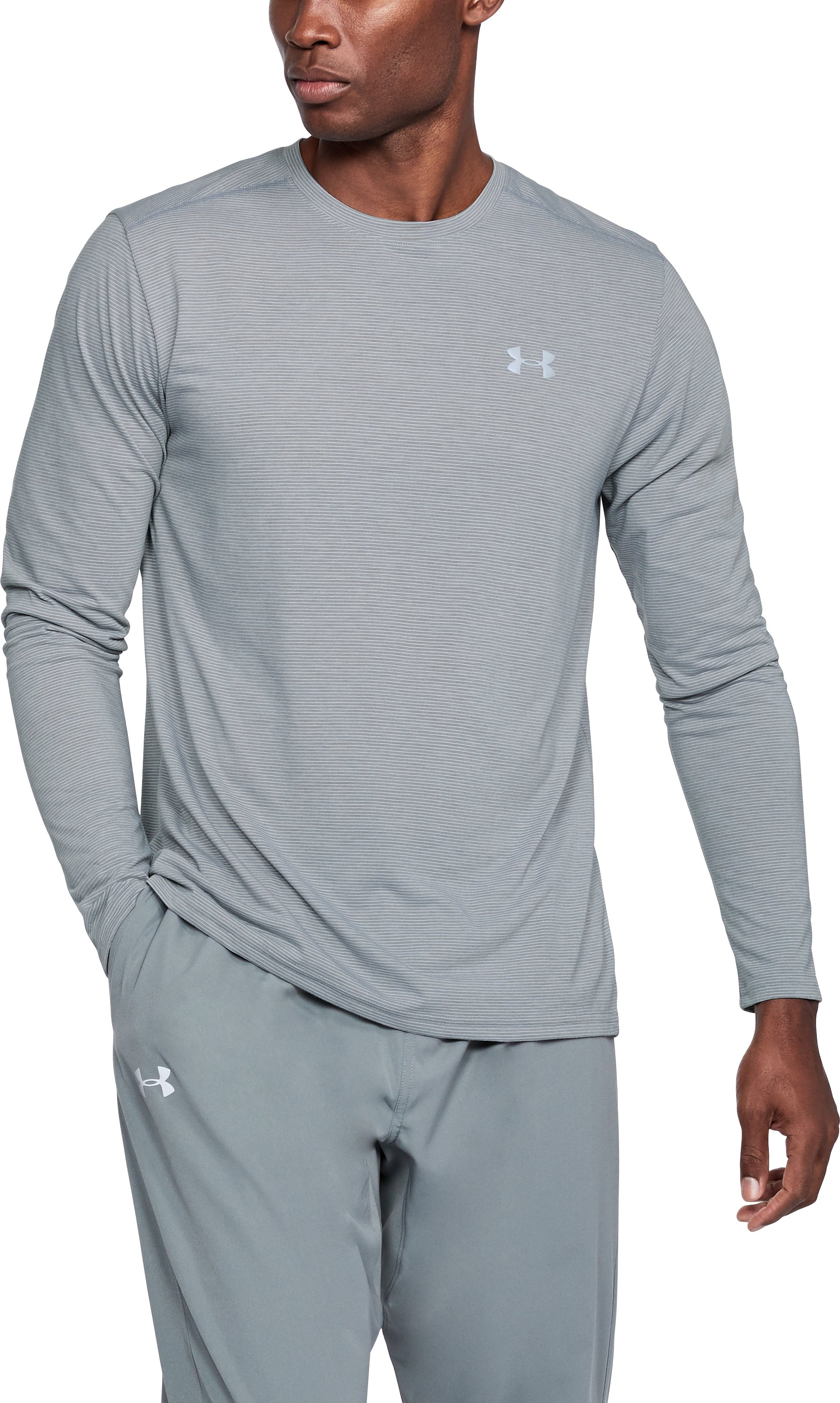 Men's UA Threadborne Streaker Long Sleeve, STEEL LIGHT HEATHER