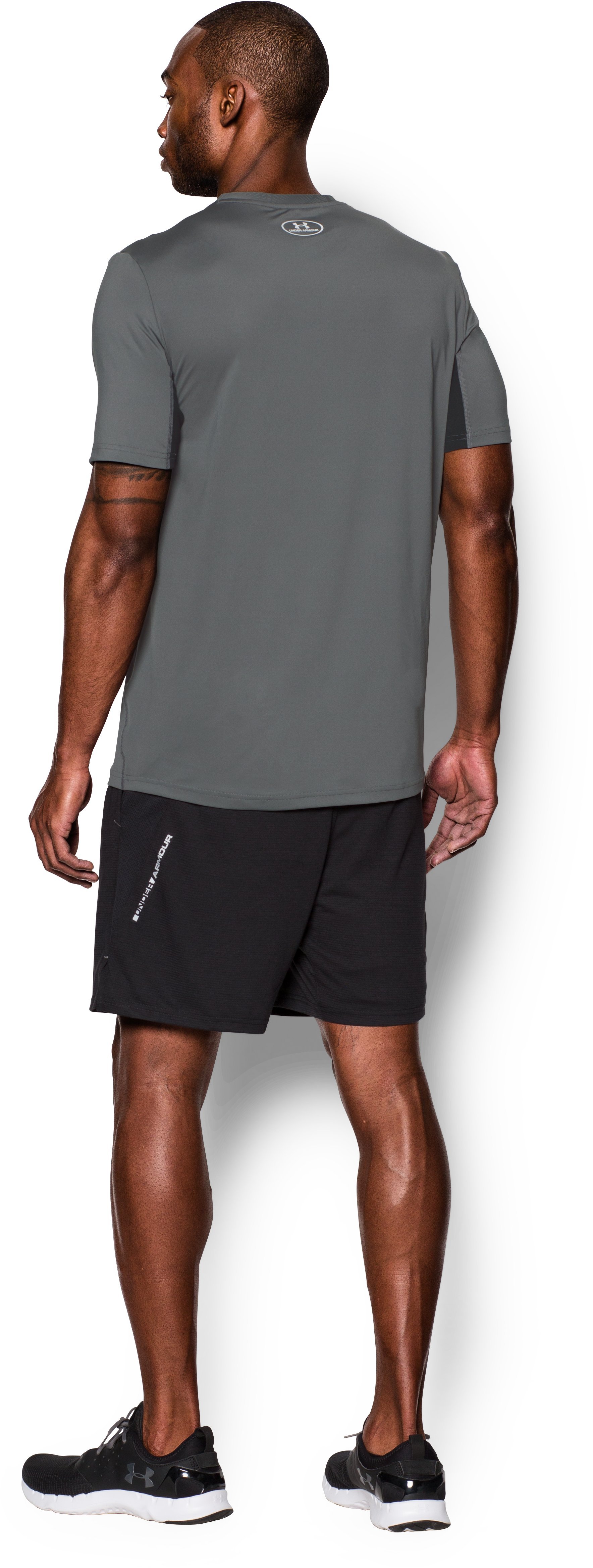 Men's UA CoolSwitch Run Short Sleeve, Graphite, Back