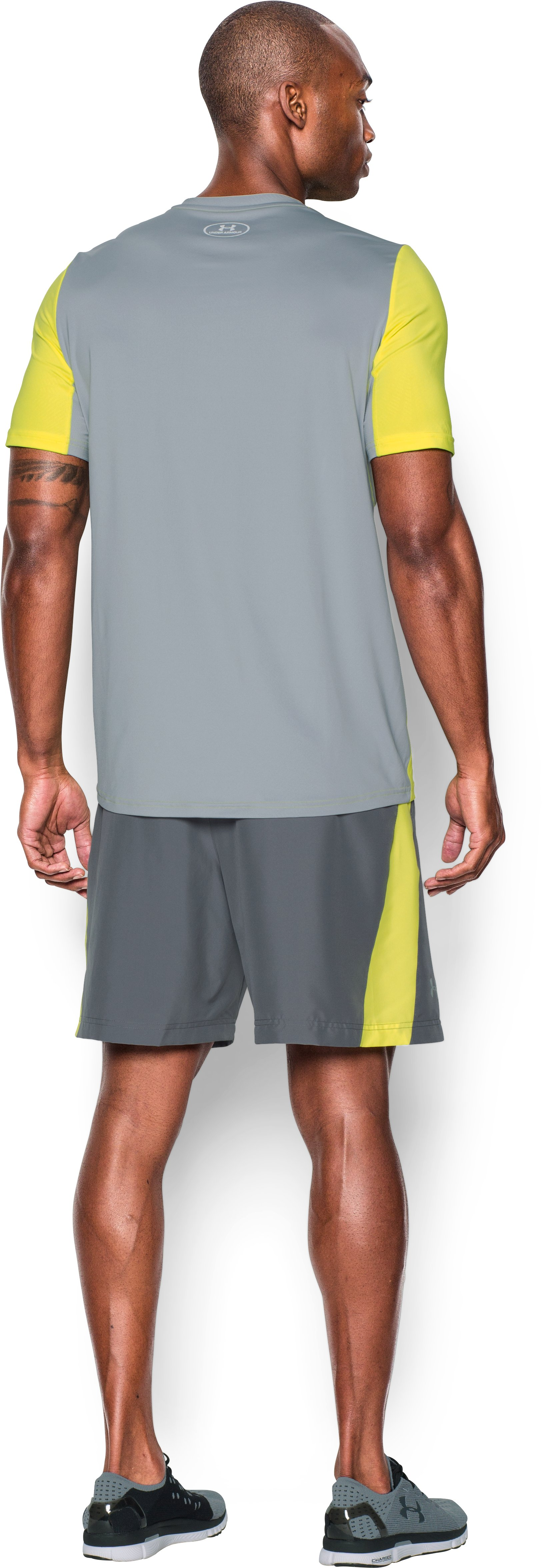 Men's UA CoolSwitch Run Short Sleeve, Flash Light, Back