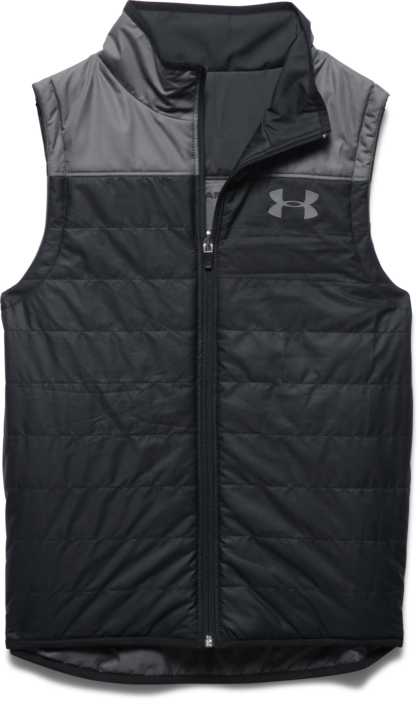Boys' UA Pure Shot Reversible Puffer Vest, Black