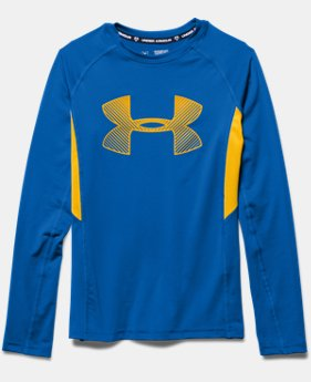 Boys' UA HeatGear® Armour Up Fadeaway Fitted Long Sleeve Shirt