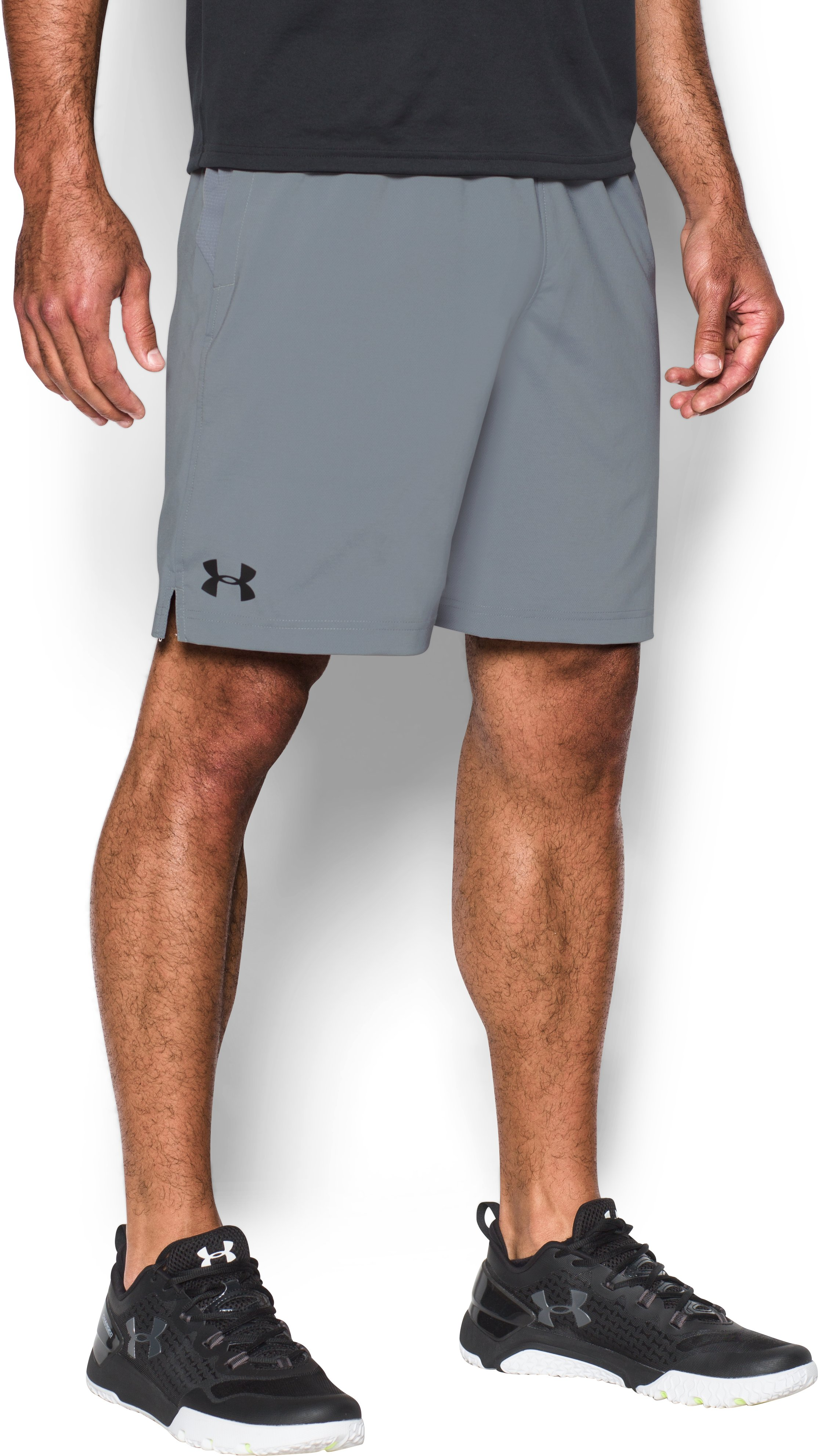 Men's UA HIIT Woven Shorts, Steel