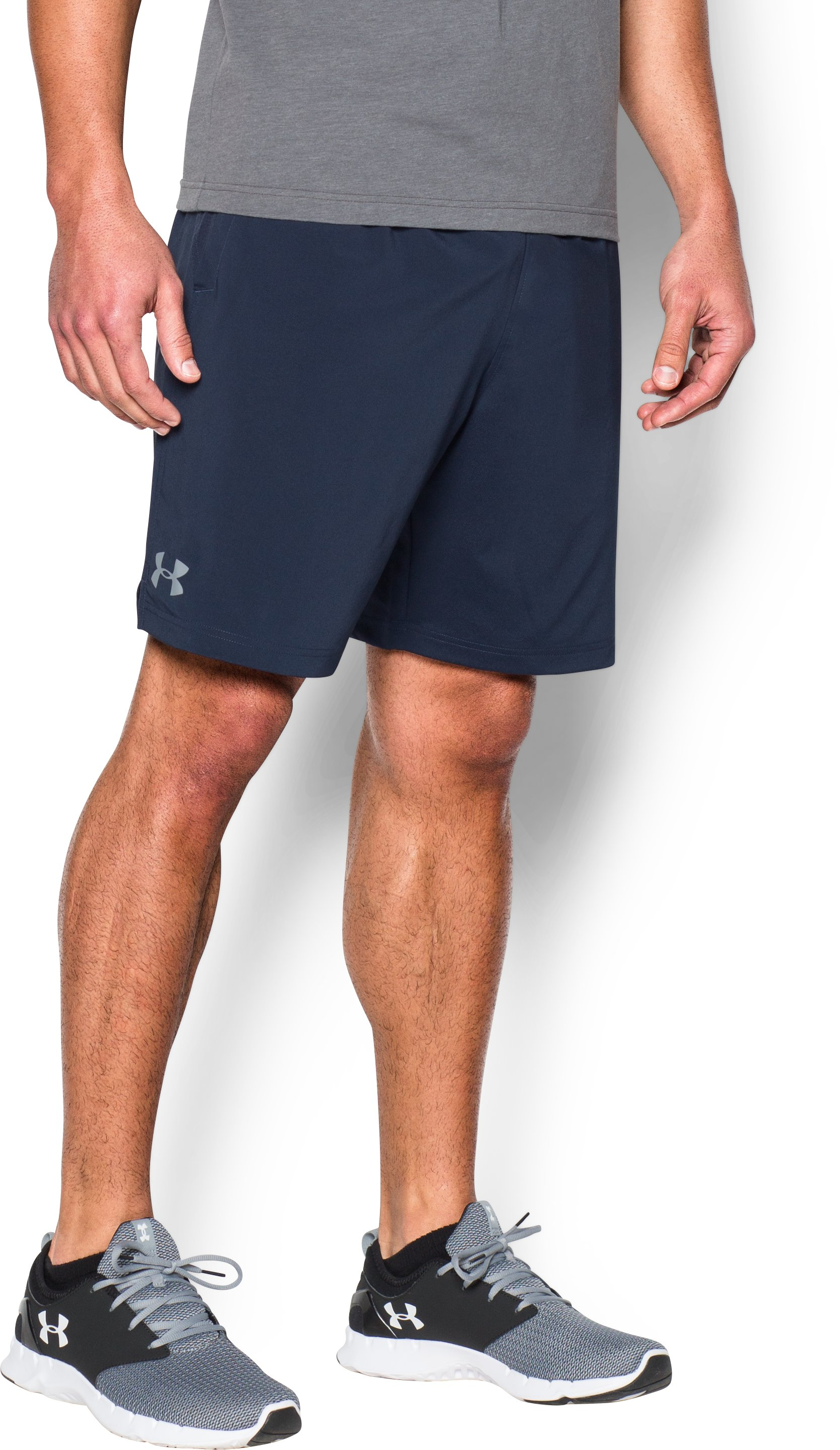 Men's UA HIIT Woven Shorts, Midnight Navy, zoomed image
