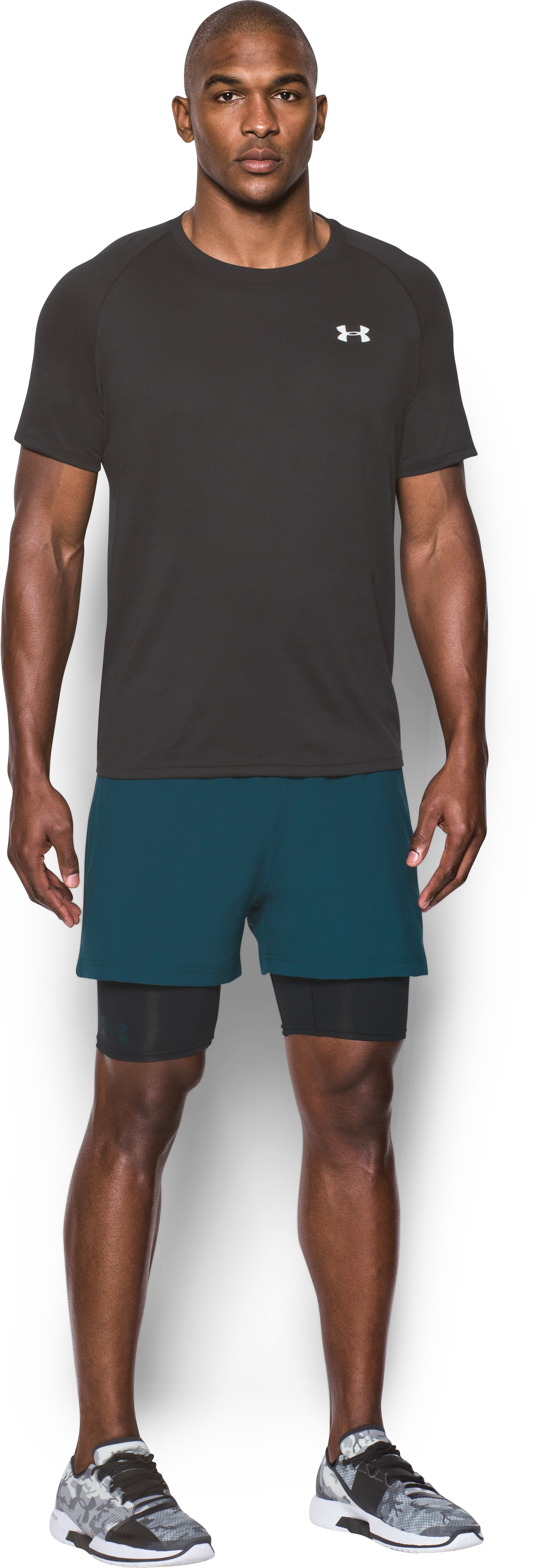 Men's UA Mirage 2-in-1 Training Shorts, NOVA TEAL, Front