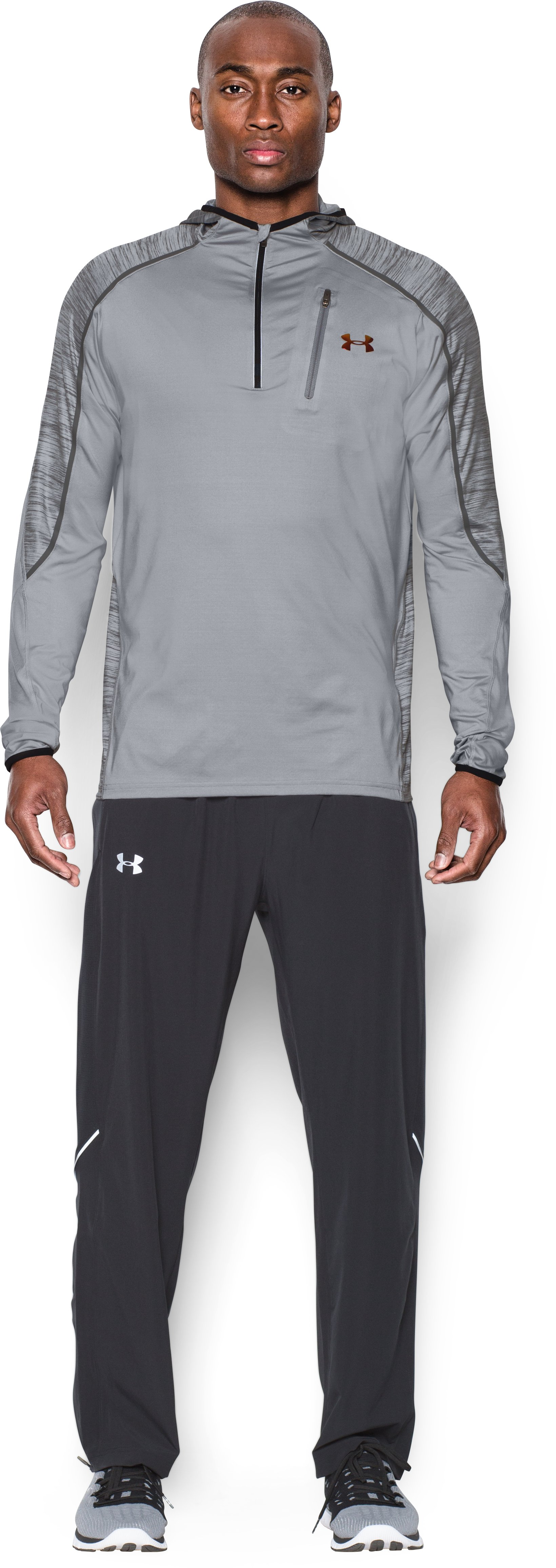 Men's UA CoolSwitch Run Road To Rio ¼ Zip, OVERCAST GRAY, Front