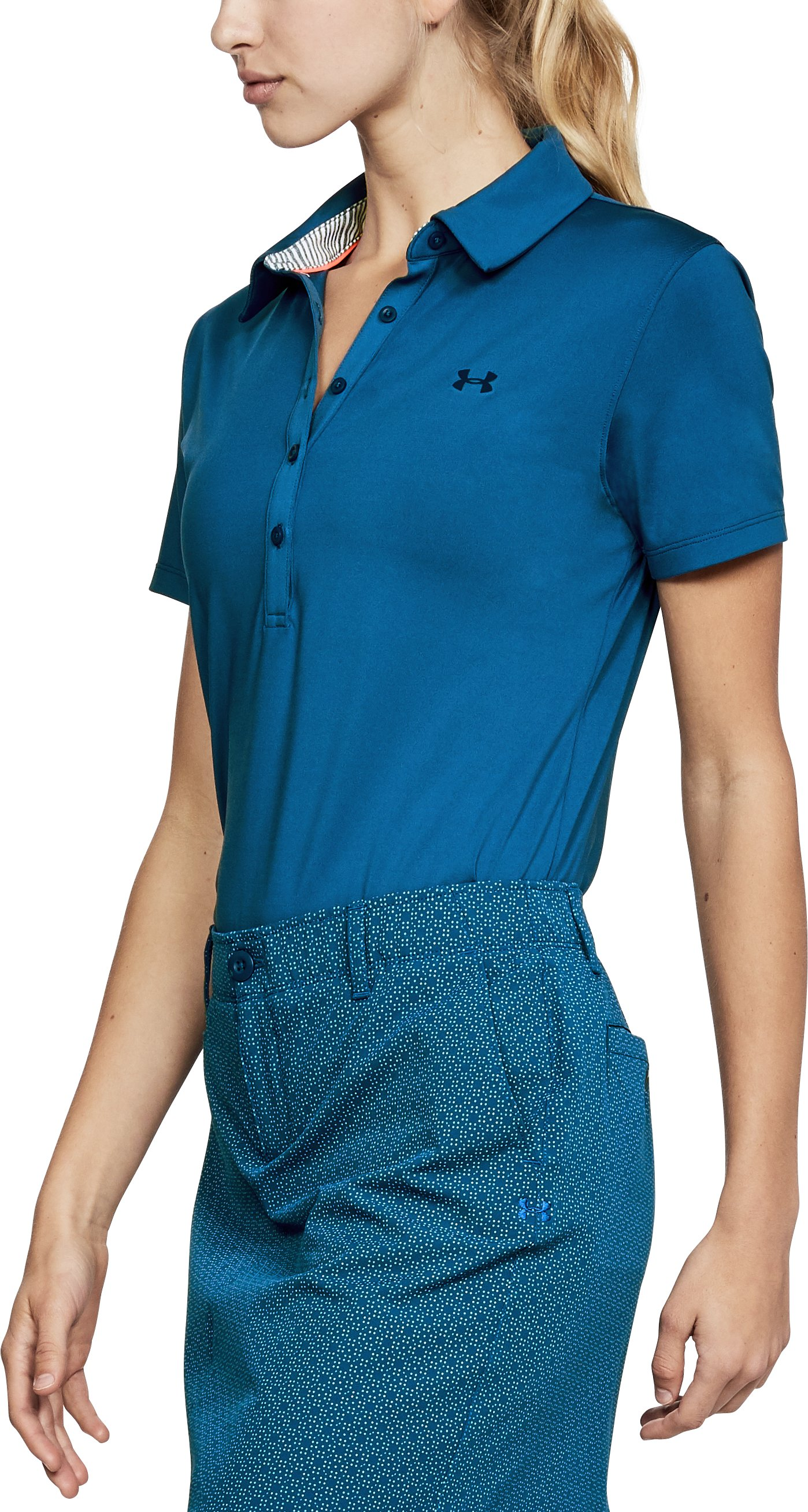 Women's UA Zinger Short Sleeve Polo, MOROCCAN BLUE,