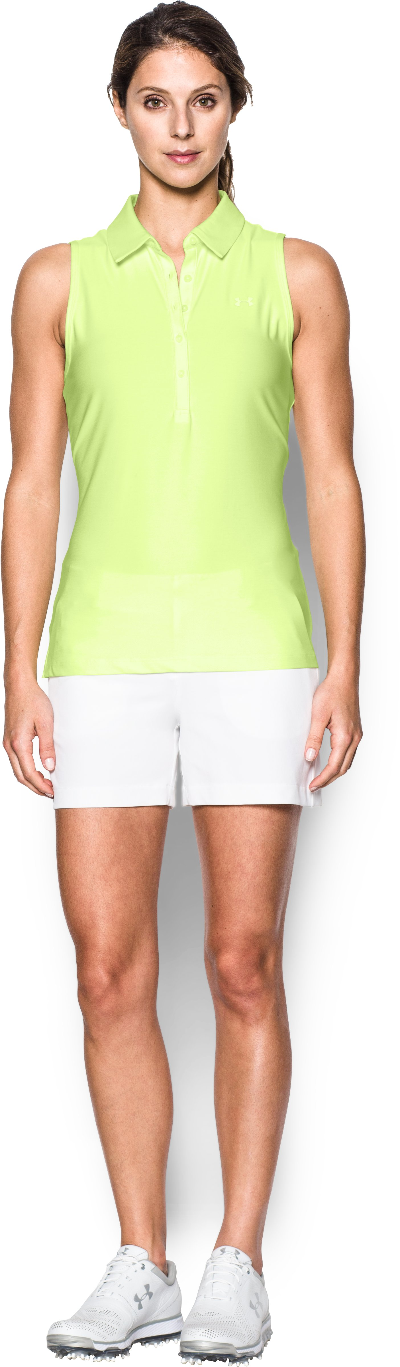 Women's UA Zinger Sleeveless Polo, PALE MOONLIGHT, Front