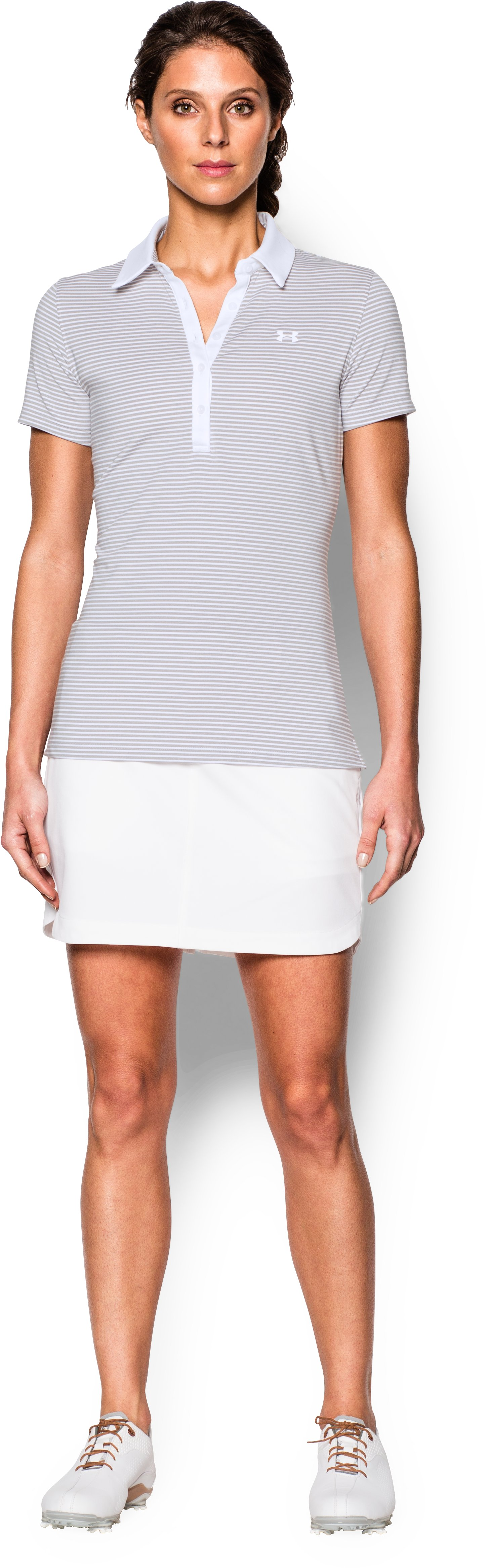Women's UA Zinger Stripe Short Sleeve Polo, White, Front