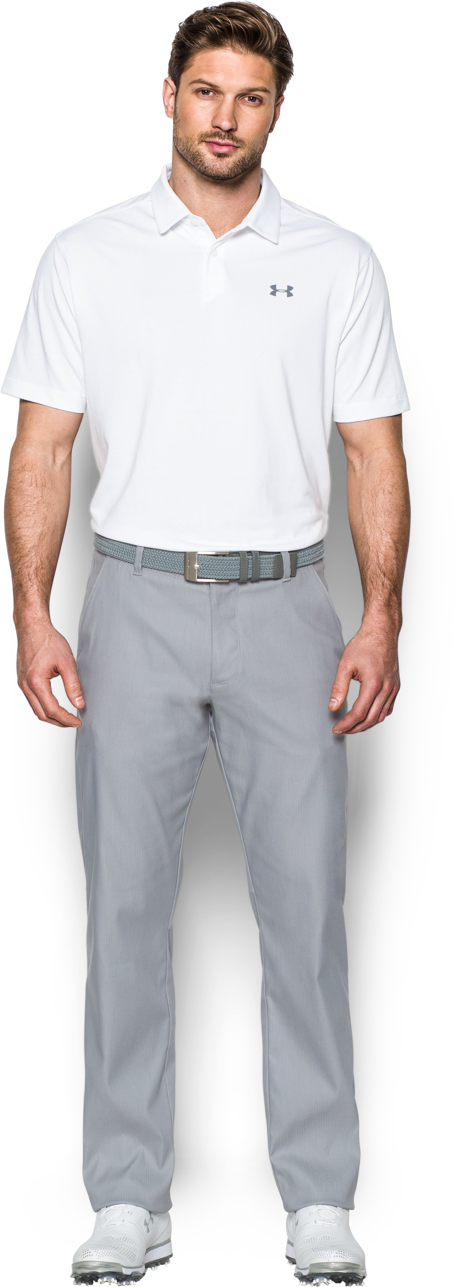 Men's UA Tips Golf Pants, Steel, Front