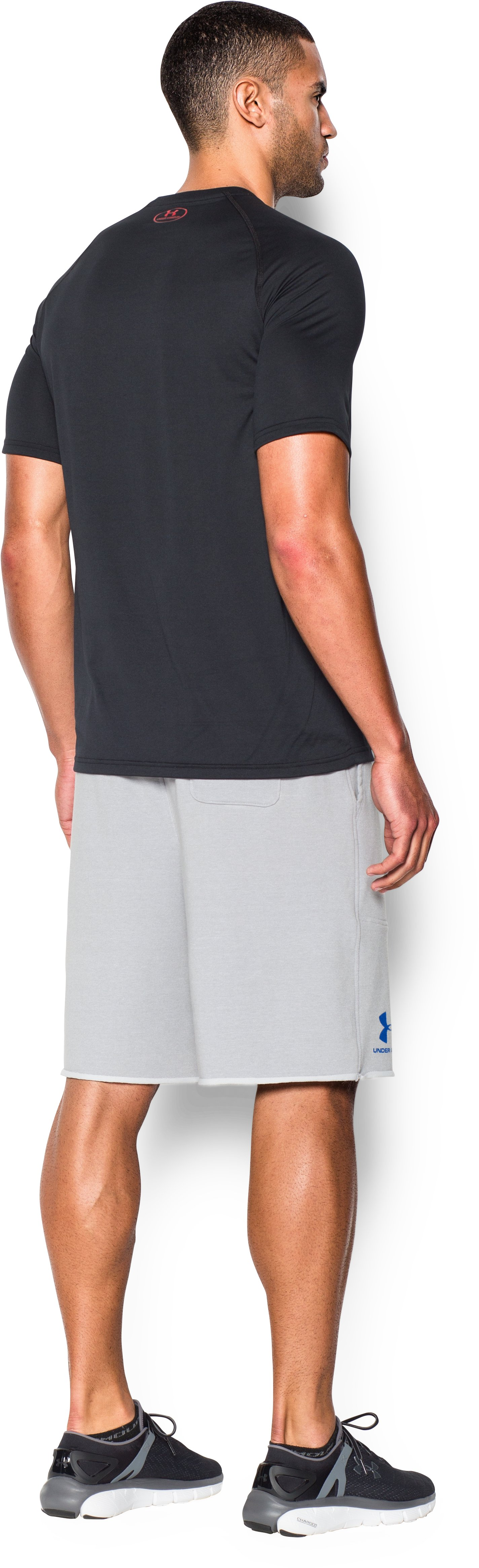 Men's UA Terry Fleece Shorts, AIR FORCE GRAY HEATHER, Back
