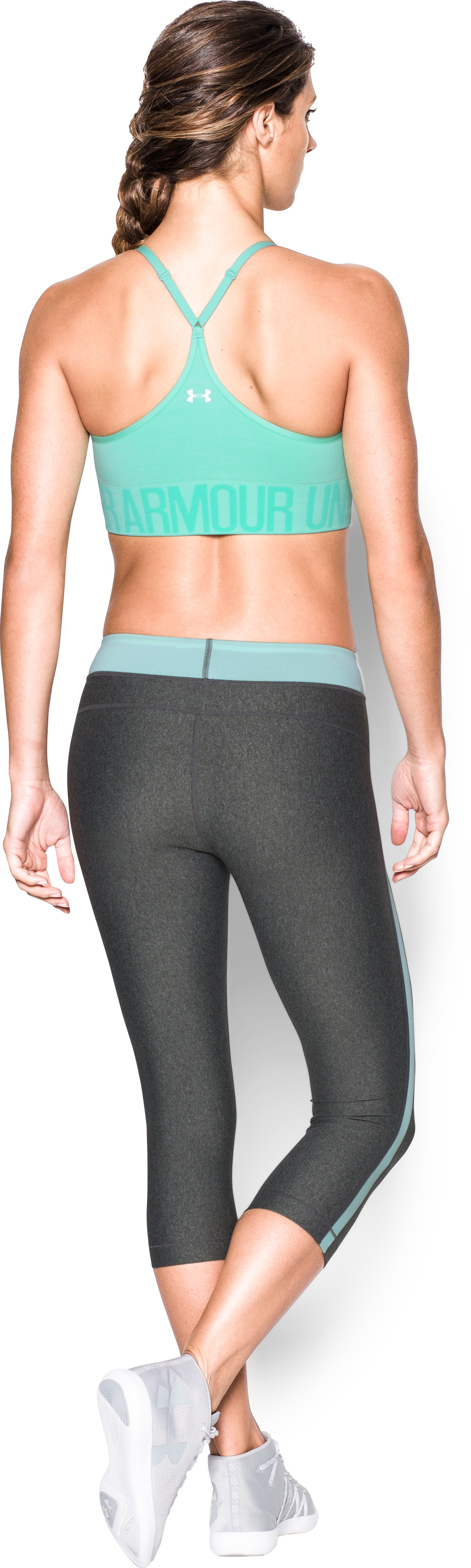 Women's Armour® Seamless Streaky Heather , CRYSTAL, Back