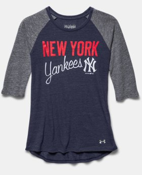 Girls' New York Yankees UA Tri-Blend ¾ Sleeve
