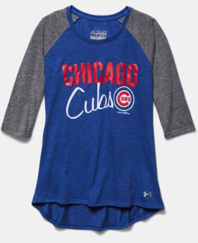 Girls' Chicago Cubs UA Tri-Blend ¾ Sleeve
