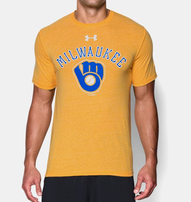 b7f1a8a68e3a1 Men s Milwaukee Brewers Retro Charged Cotton® Tri-Blend T-Shirt ...