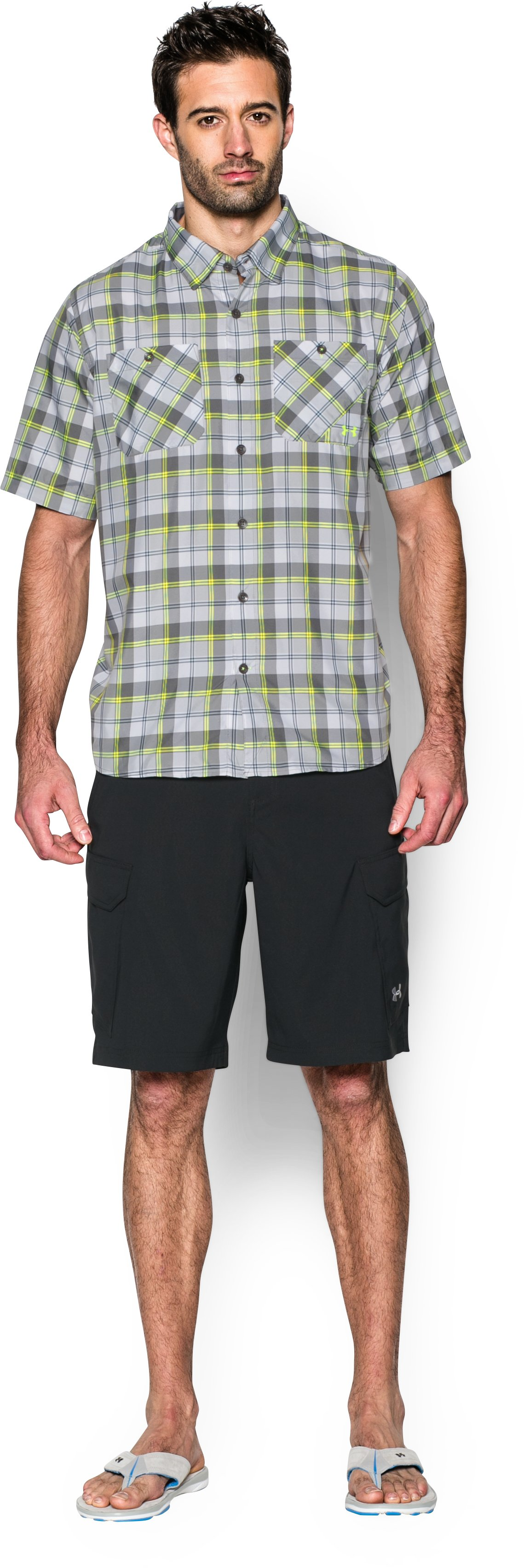 Men's UA Chesapeake Plaid Short Sleeve Shirt, GRANITE, Front